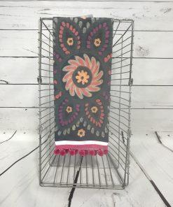 Boujdor Tea Towel With Pink Poms