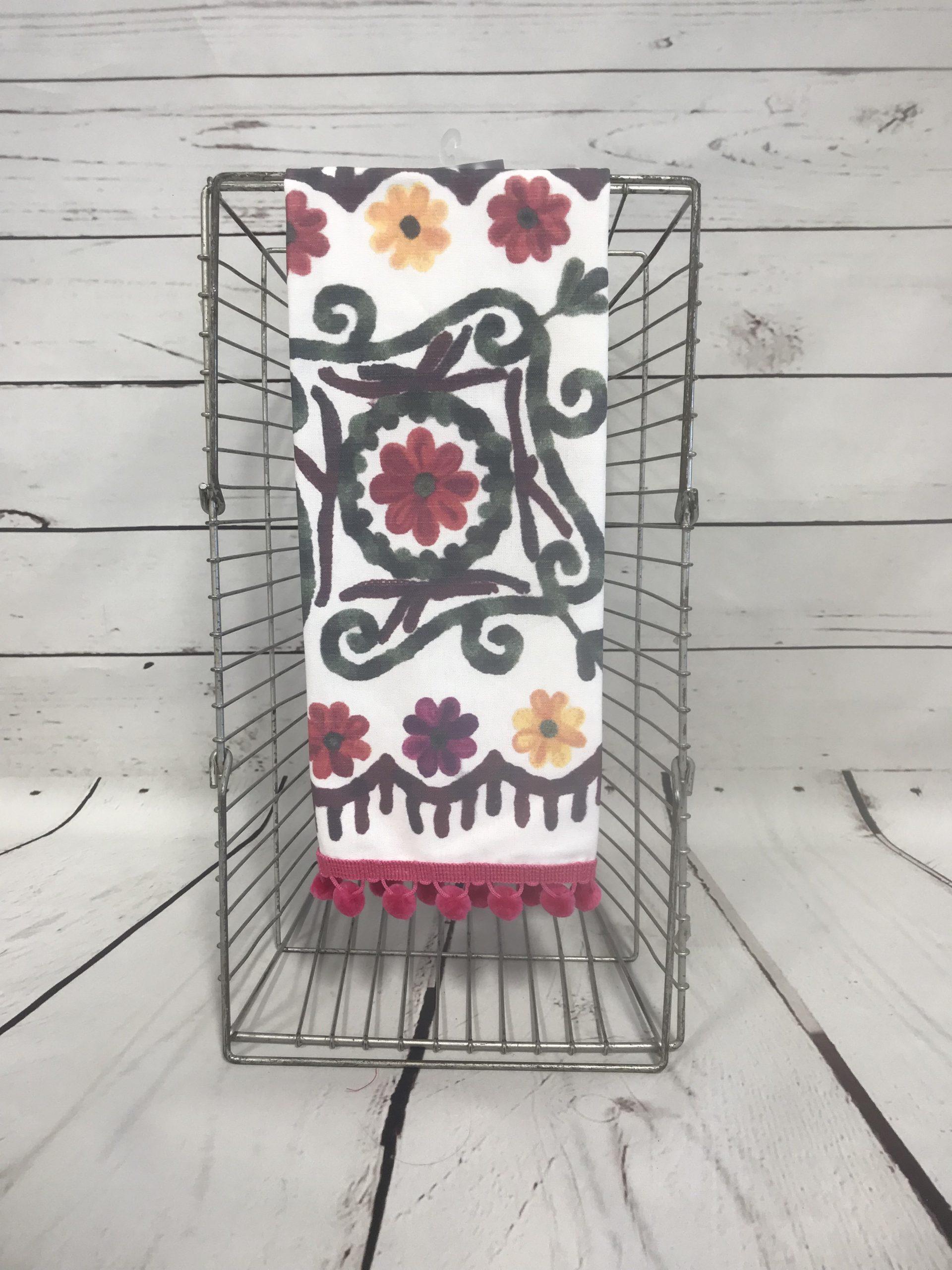 Casablanca Tea Towel With Pink Poms