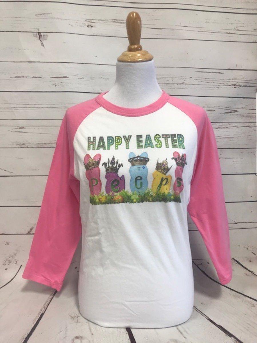 Happy Easter Peeps Pink Sportek Baseball Tee