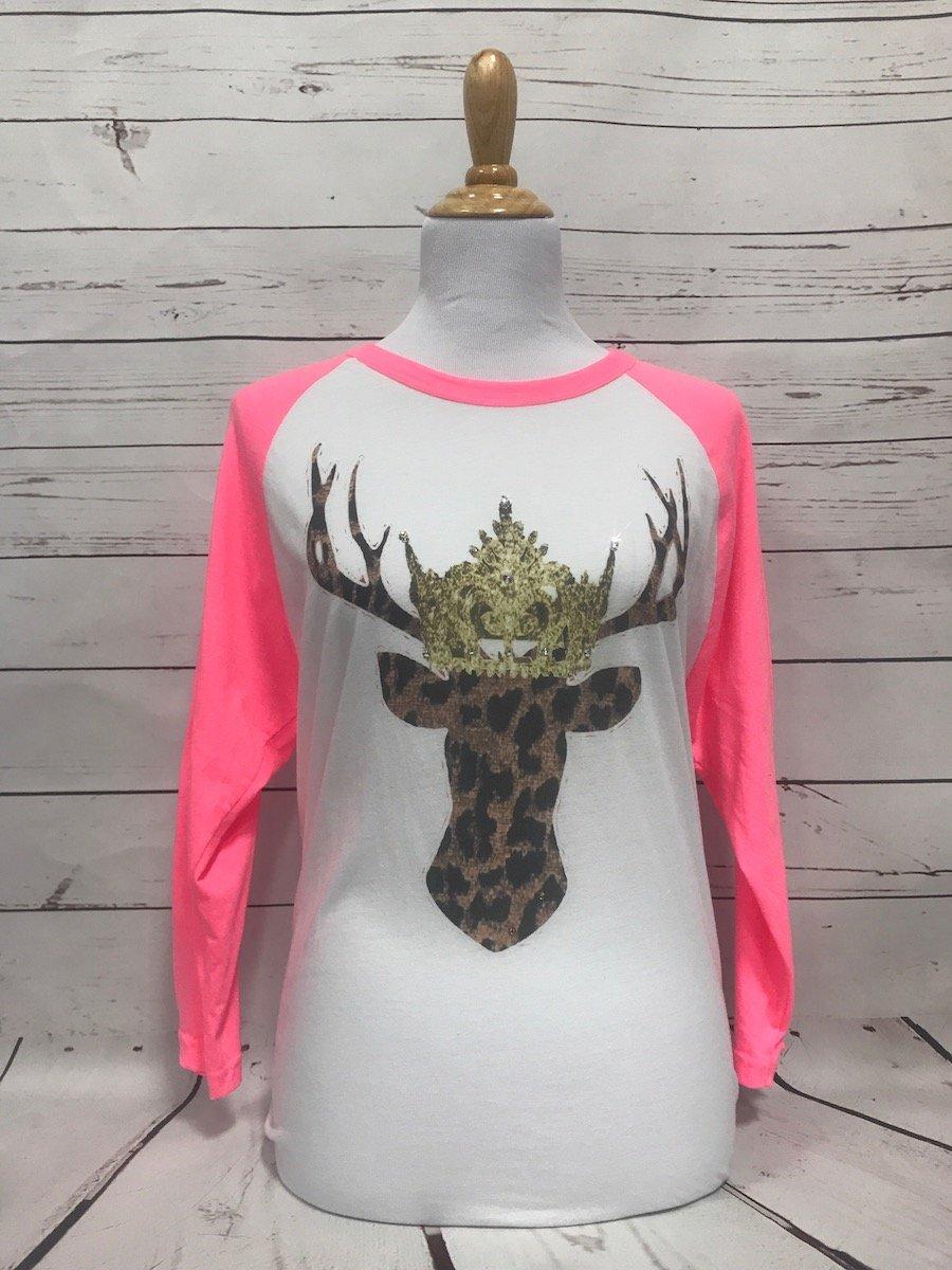 Leopard Deer Neon Pink Baseball Tee
