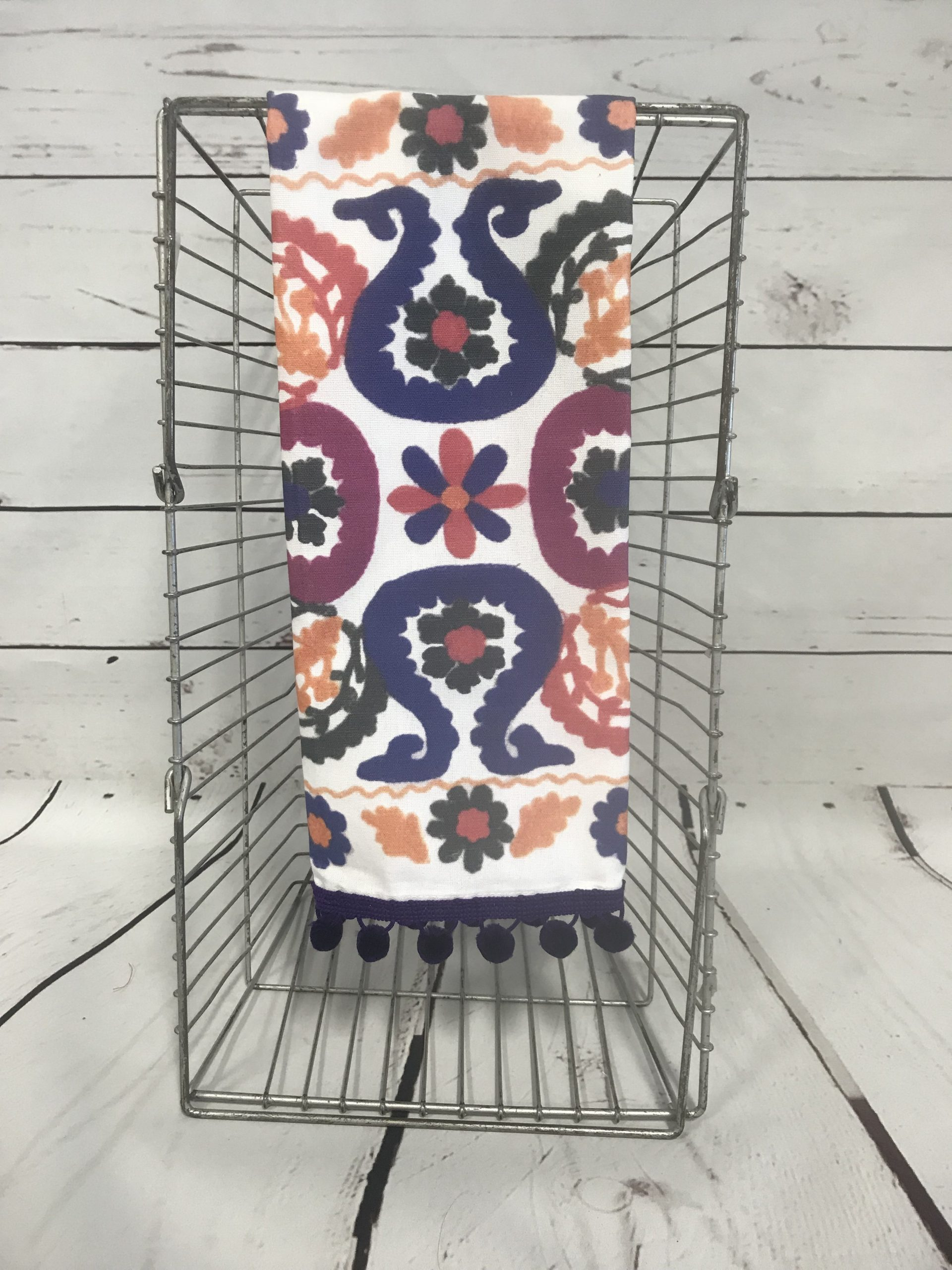 Morocco Tea Towel With Purple Poms