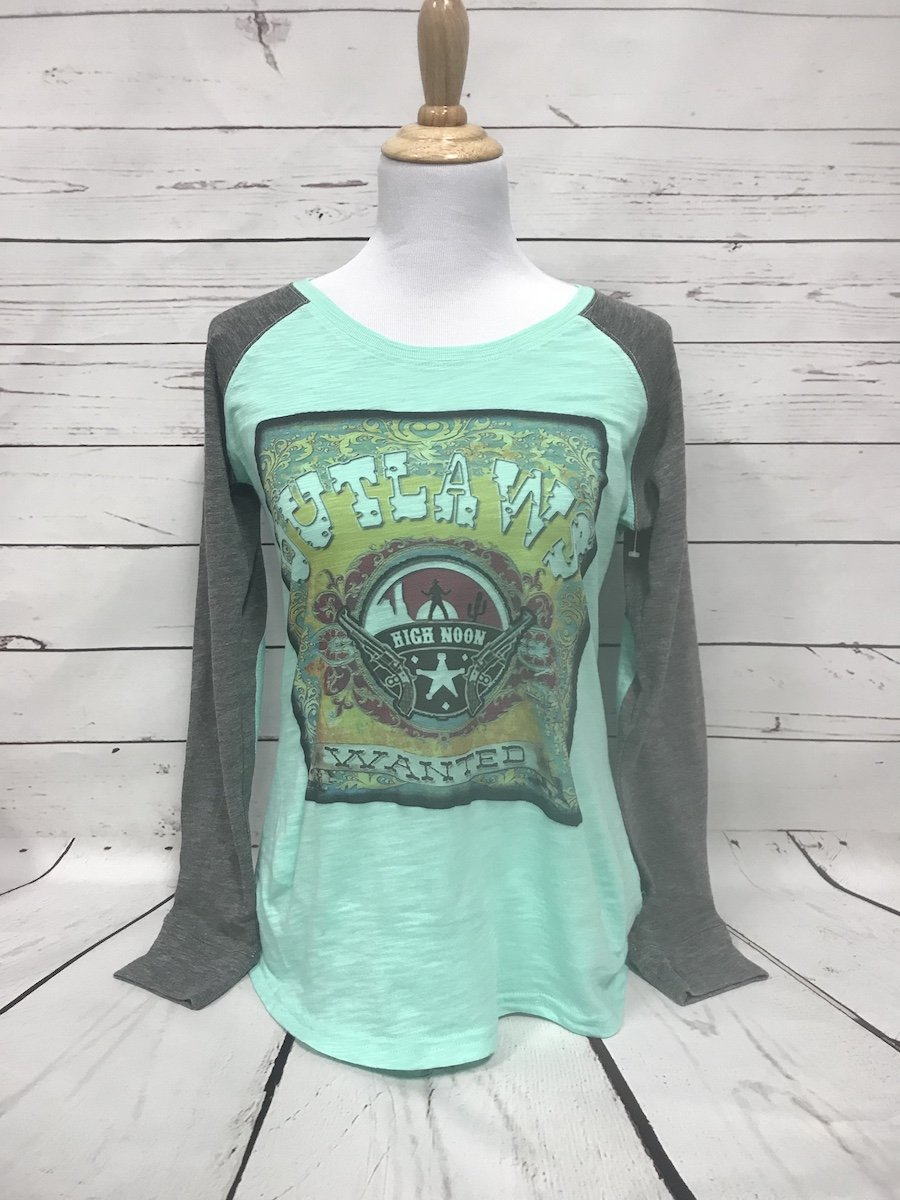 Outlaws Wanted Mint Elbow Patch Tee