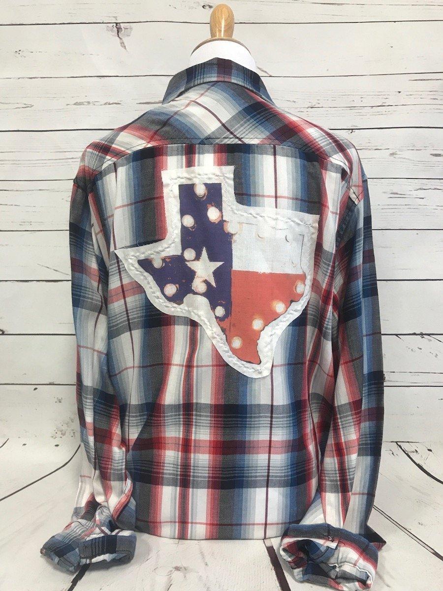 Texas Flag Lite Up Patch CTS on RWB Plaid Shirt