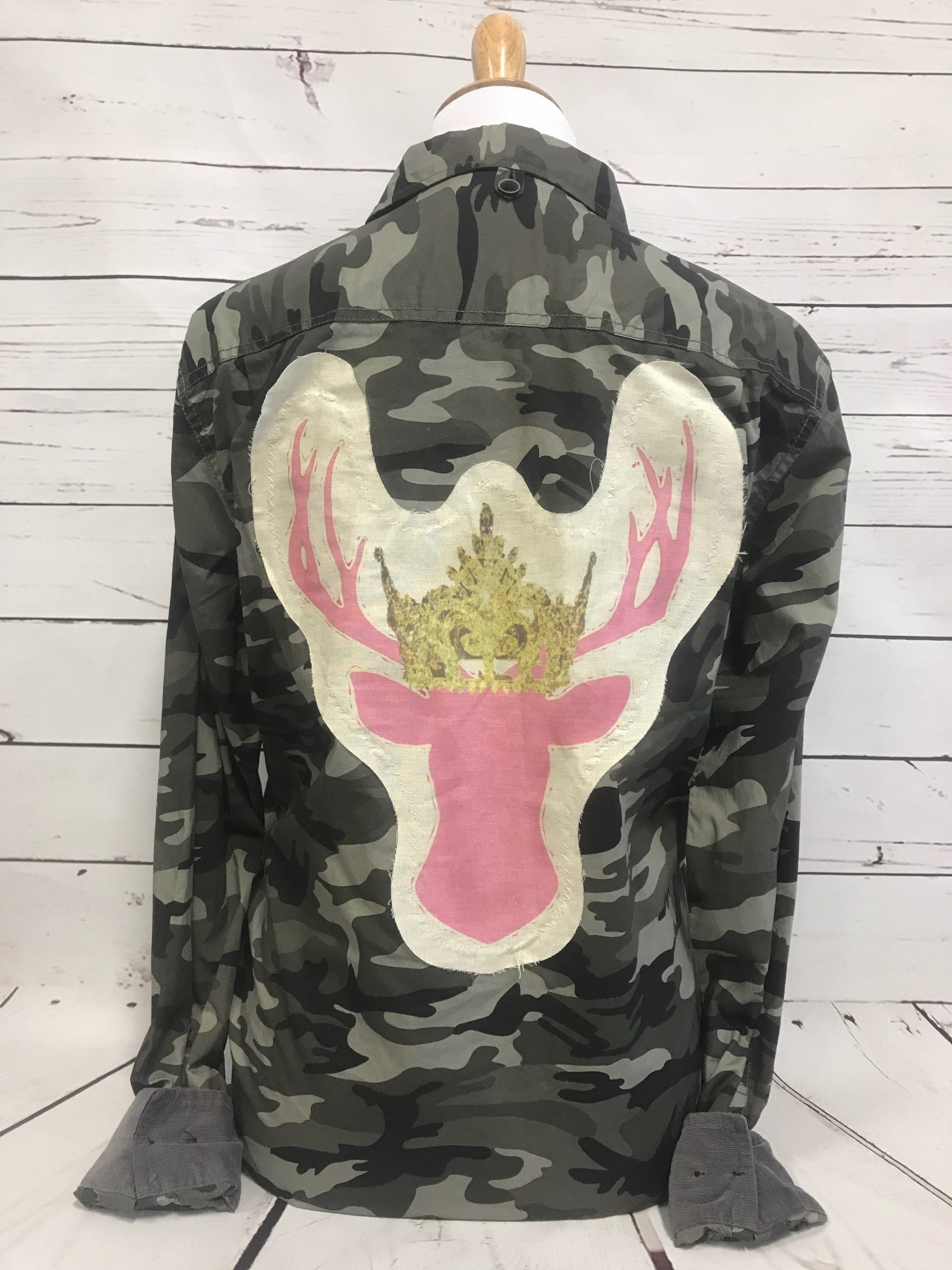 Pink Deer Patch CTS Camo Button Up