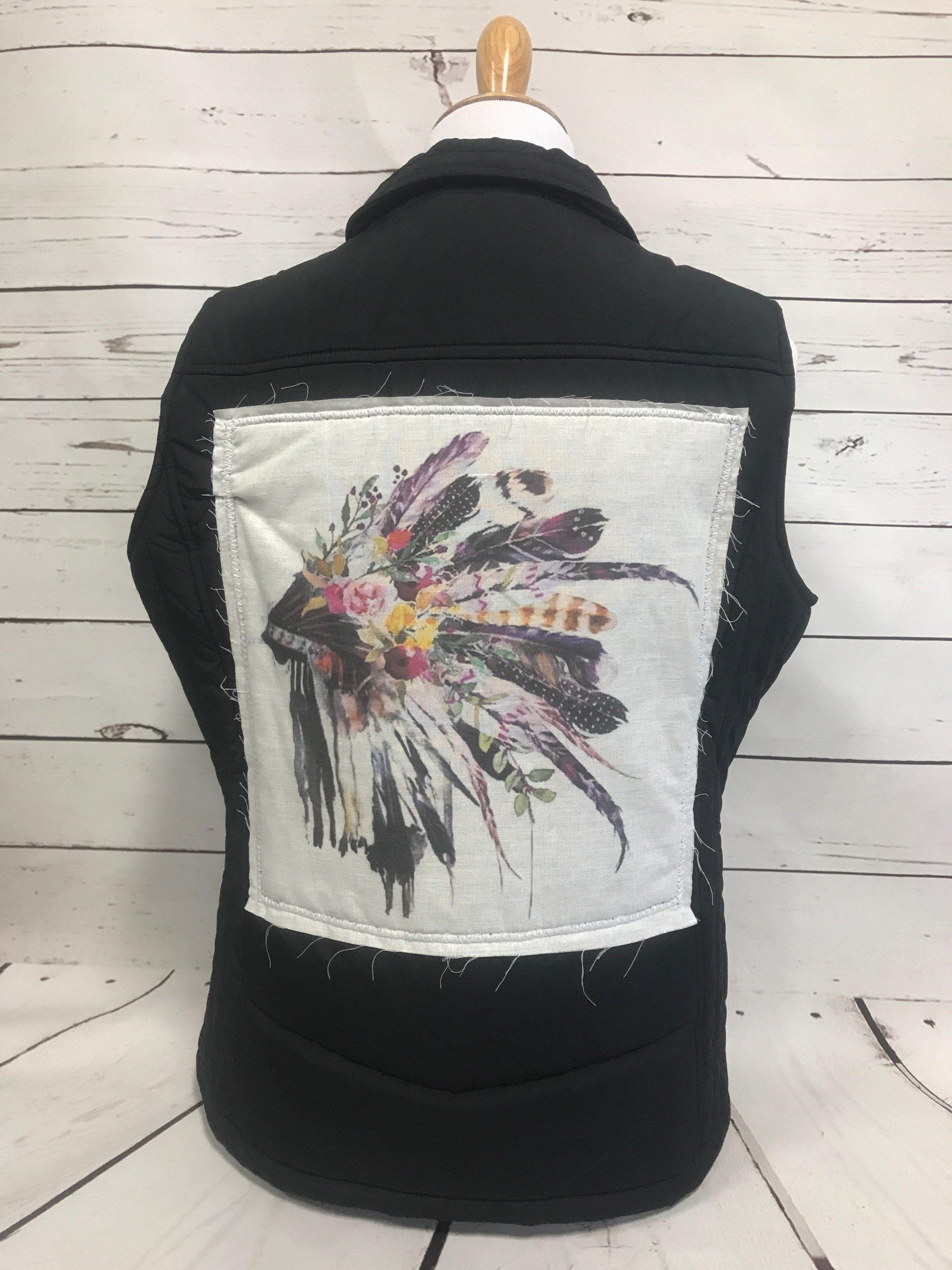 Watercolor Headdress Black Puff Vest