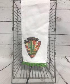 Cactus Arrowhead Tea Towel With Green Poms
