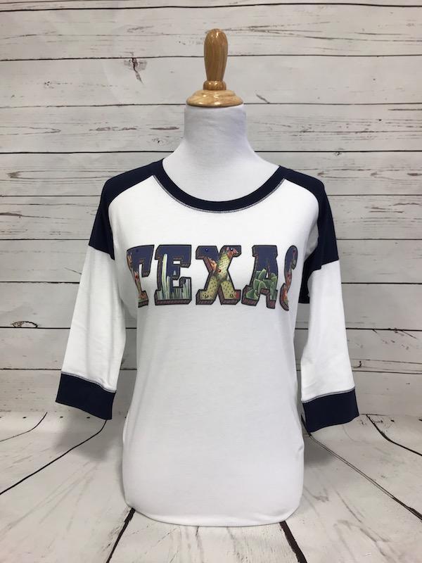 Texas Cactus Navy on Black/White Sleeve Baseball Tee