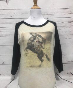 Sombrero Lady on Horse Baseball Burnout Tee