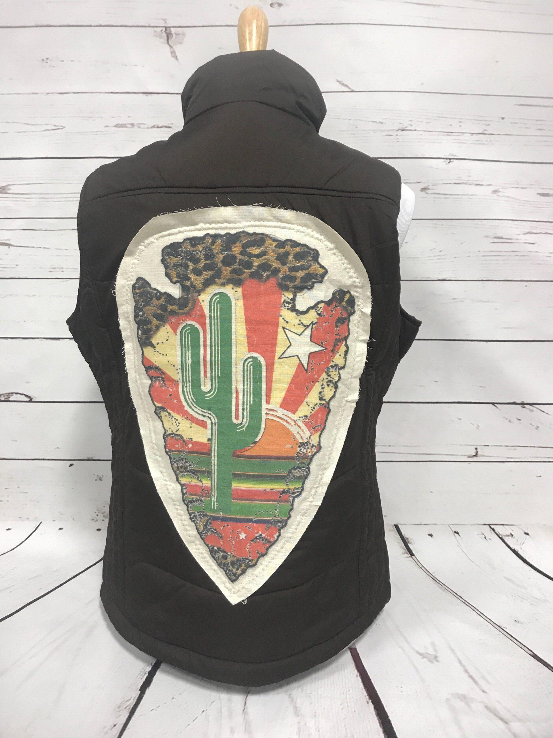 Cactus Arrowhead on Black Puff Vest