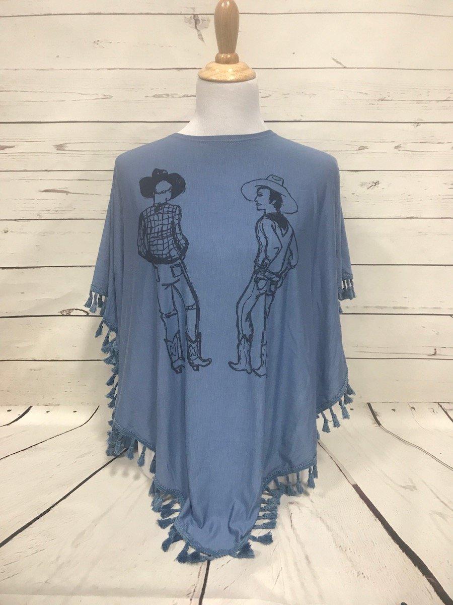 Double Cowboy Blue Fringed Poncho