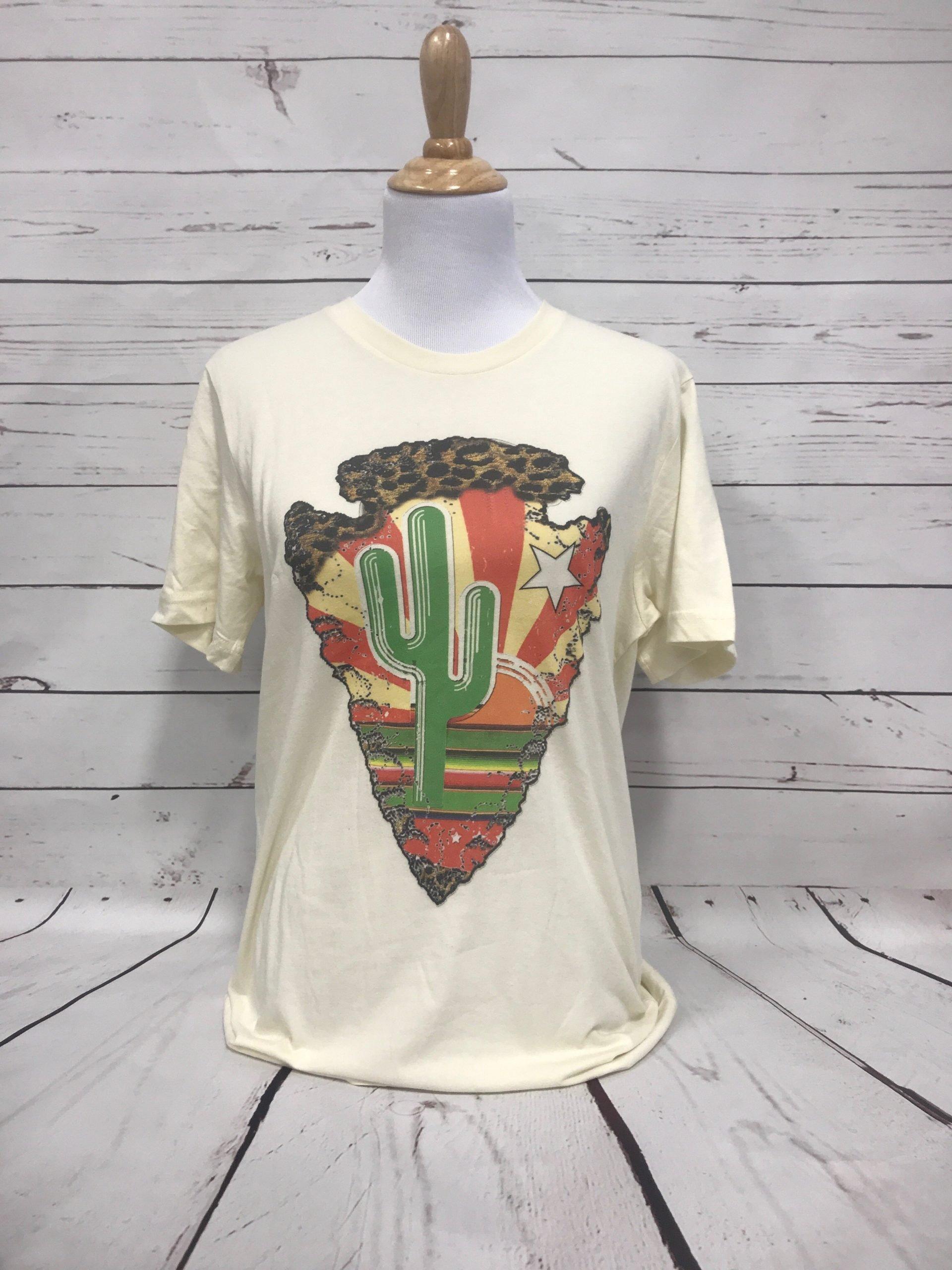 Cactus Arrowhead on Cream Tee
