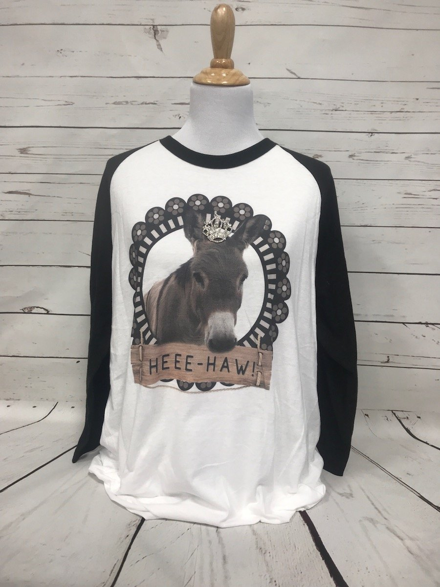 Hee Haw Donkey with Removable Crown Black Baseball Tee