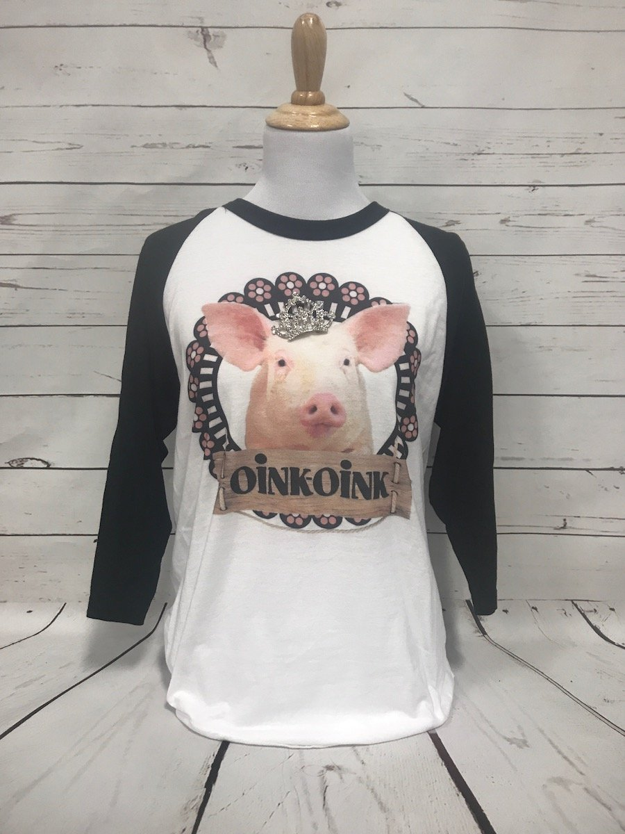 Oink Oink Pig with Removable Crown Black Baseball Tee