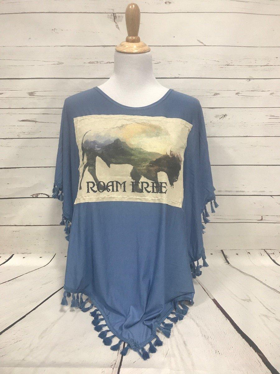 Roam Free Buffalo Patch Blue Fringed Poncho