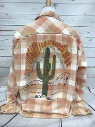 Sunset Cactus on Peach Bleached  Flannel