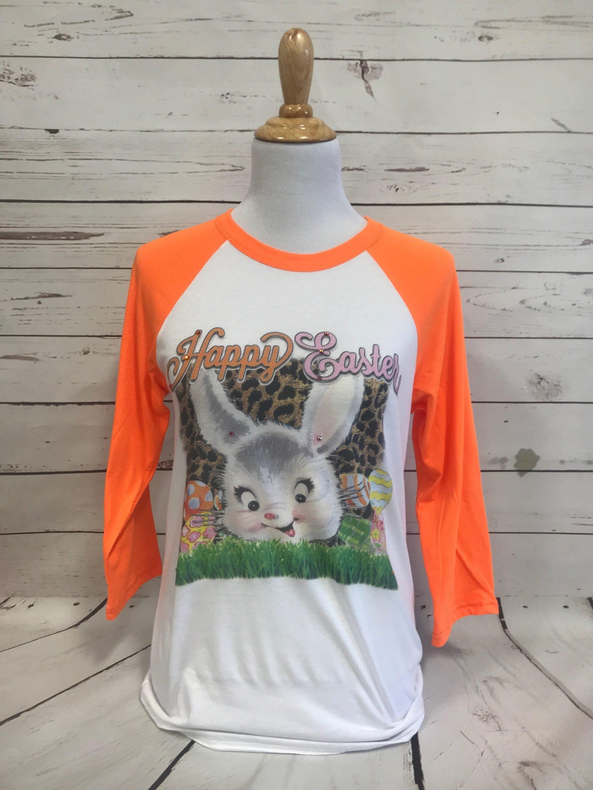 Happy Bunny on Neon Orange Bella Baseball Tee