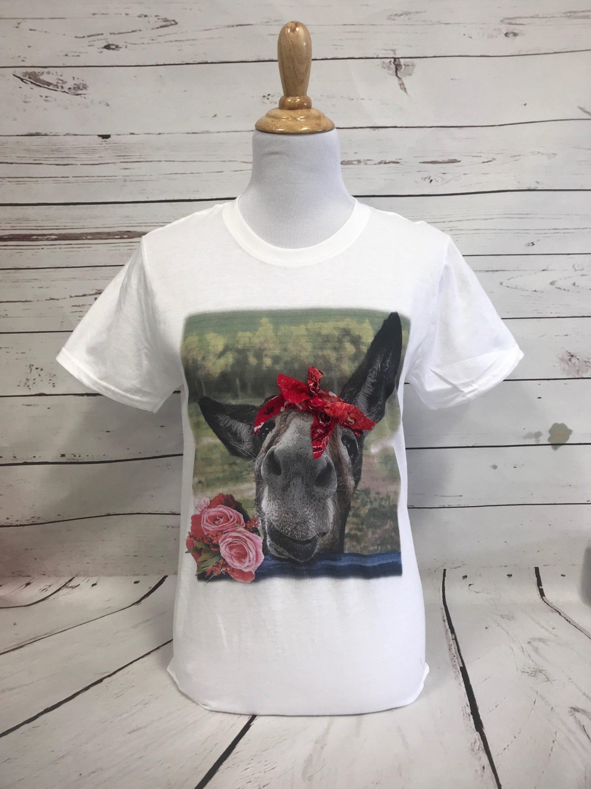 Donkey with Red Bandana on White Softstyle Tee