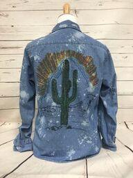 Sunset Cactus on Bleached Button Denim Shirt