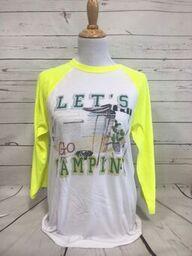 Let's Go Camping Neon Yellow Baseball Tee