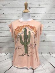 Sunset Cactus on Peach Cuffed Sleeve Muscle Tee