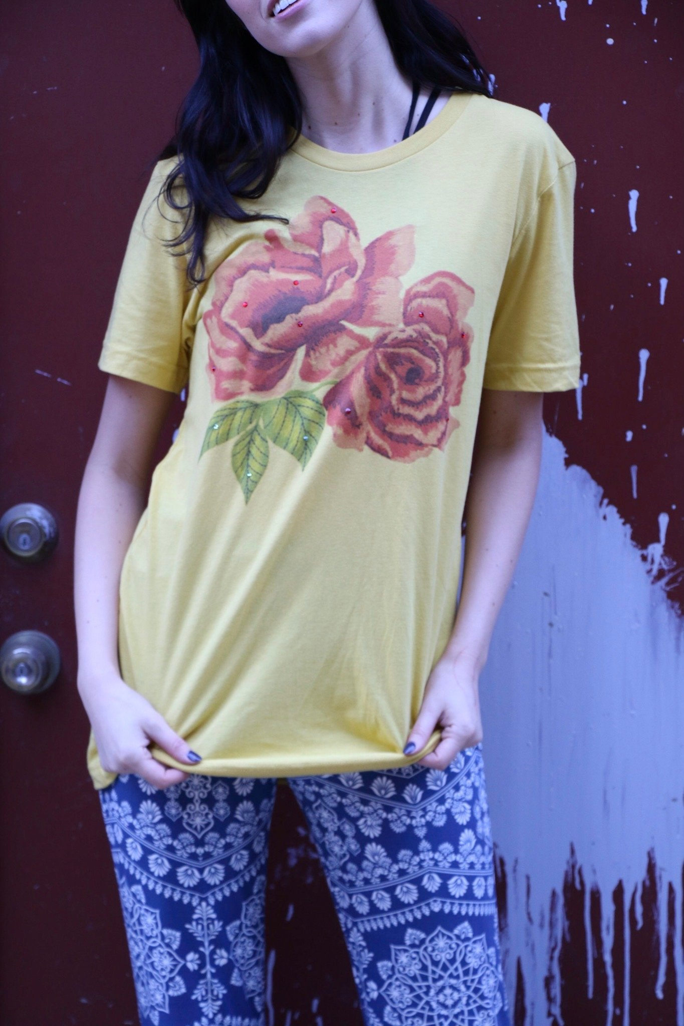Embroidered Roses on Mustard Tee