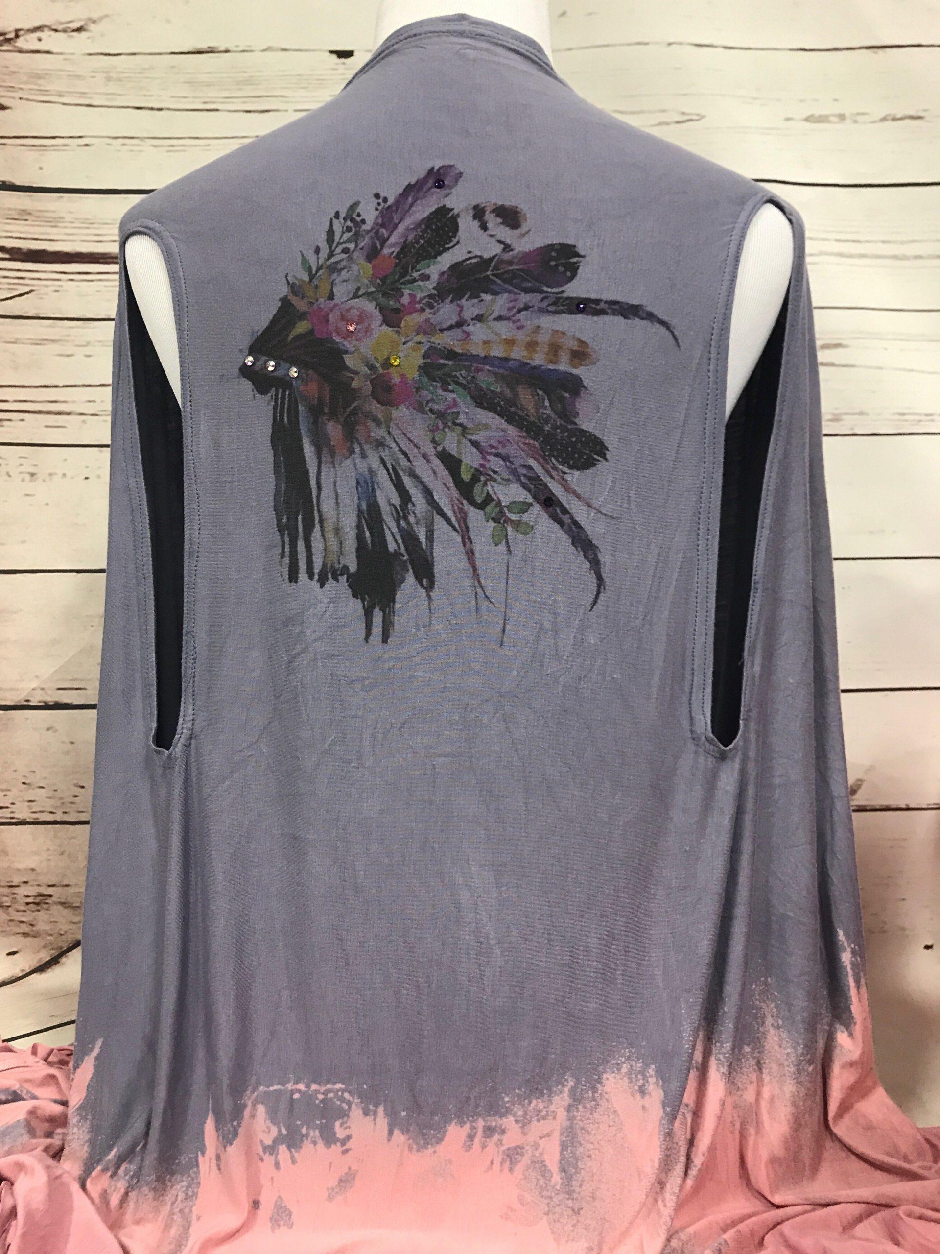 Watercolor Headdress Fringe Long Vest
