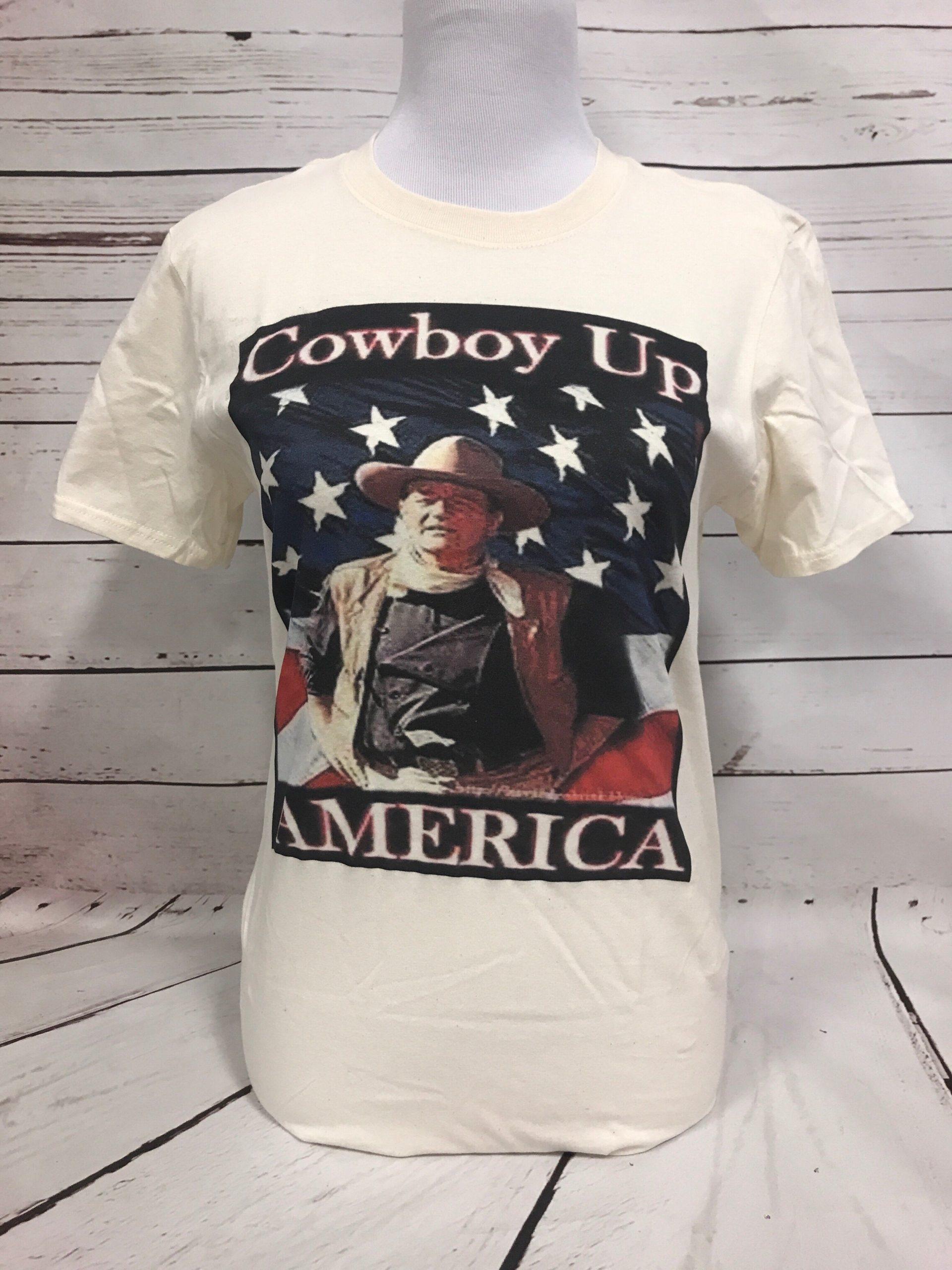 Cowboy up John Wayne American Gildan Natural