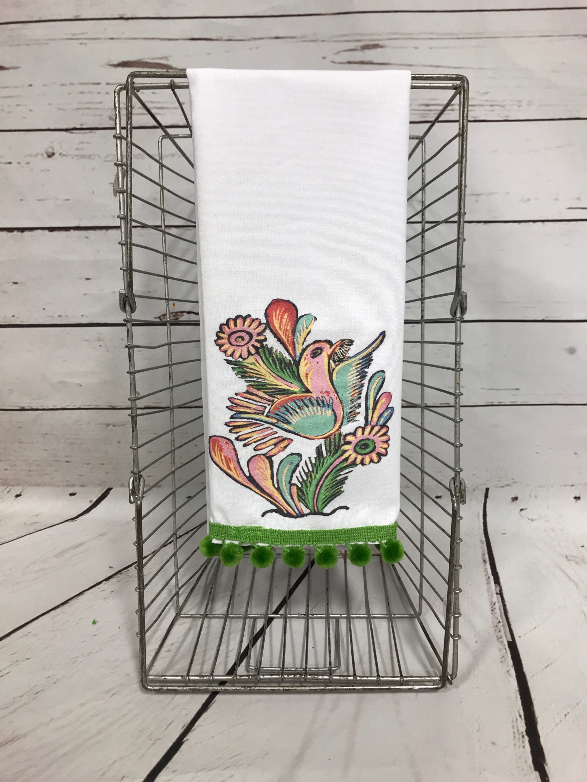 Alma Tea Towel w/ Green Poms