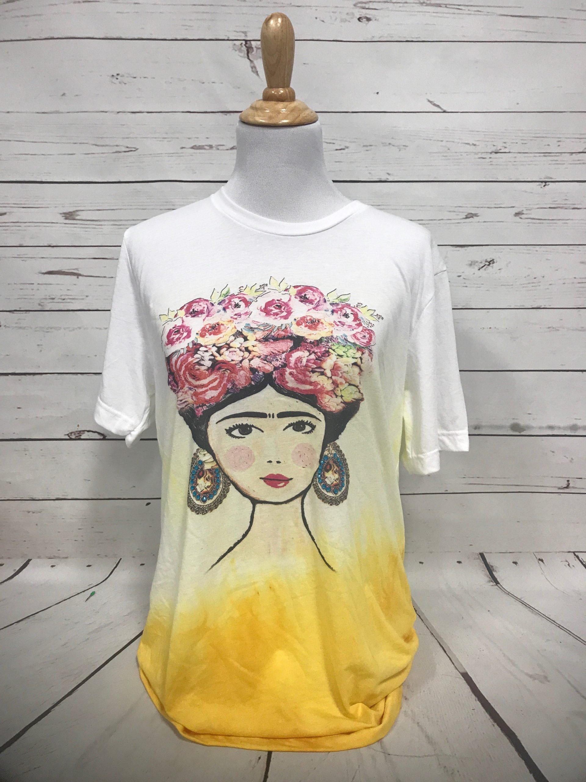 Frida White Bella Yellow Dip Tee
