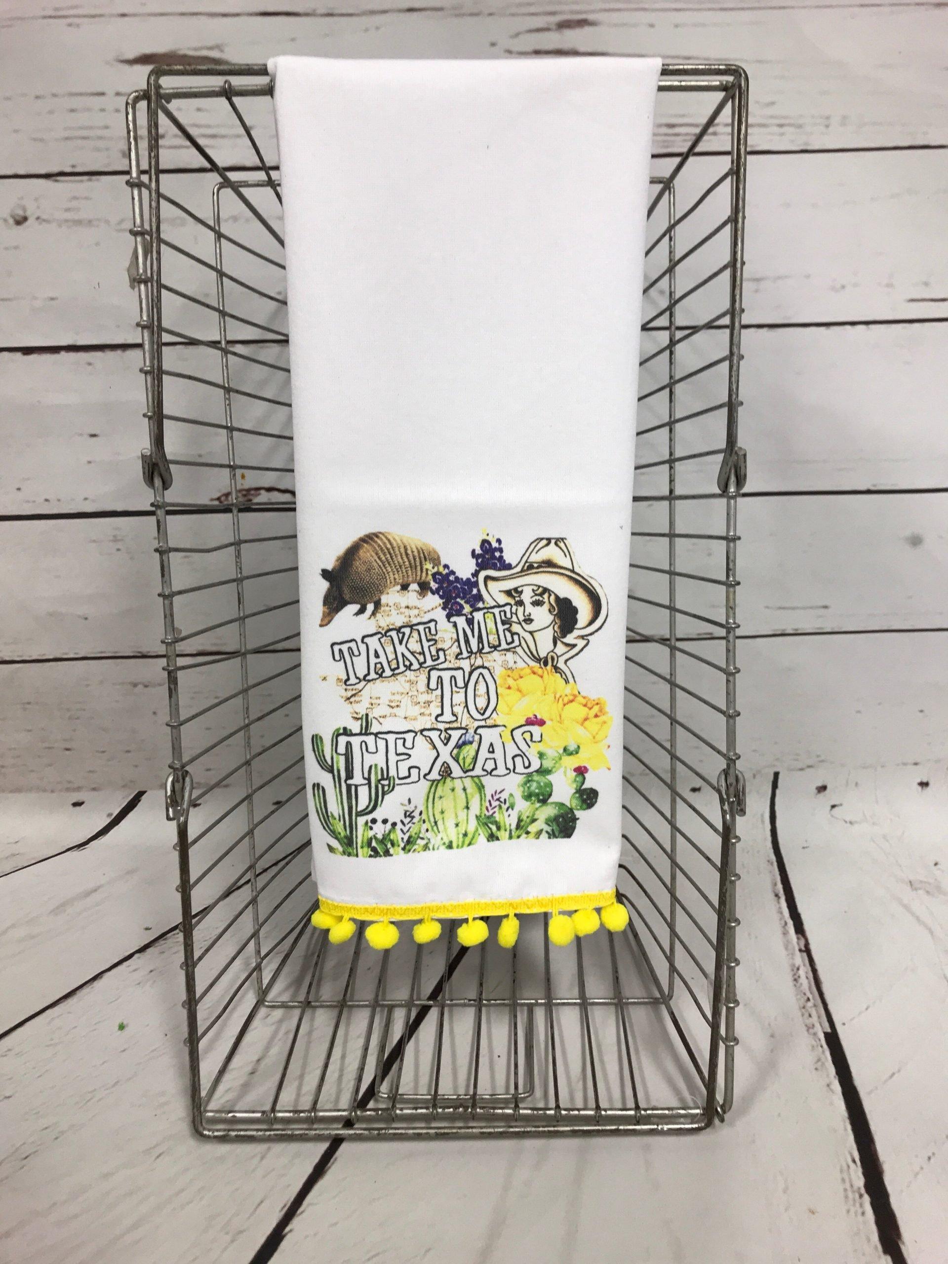Take me to Texas Tea Towel with Yellow Poms