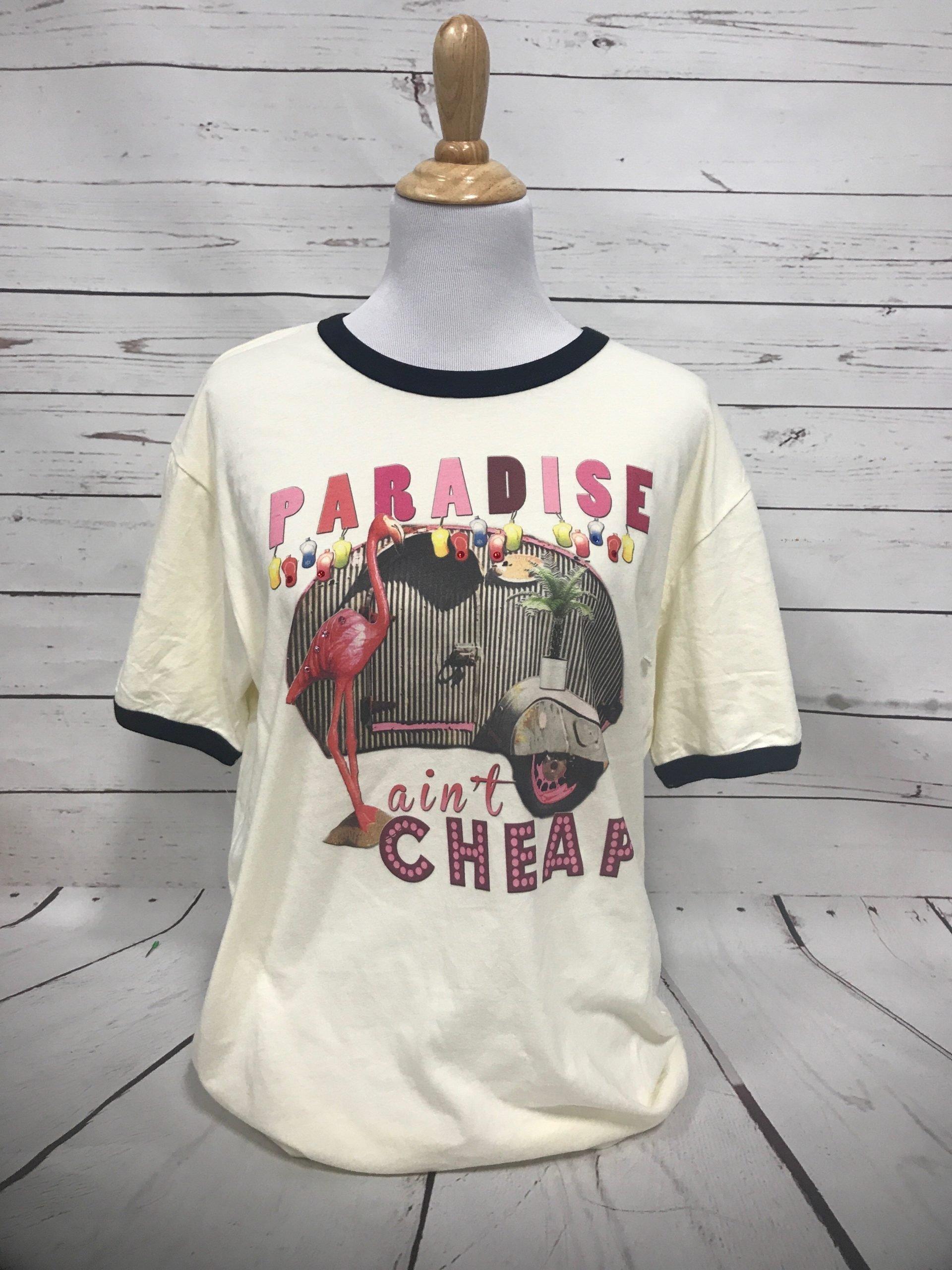 Paradise Ain't Cheap Cream Black Ringer Tee