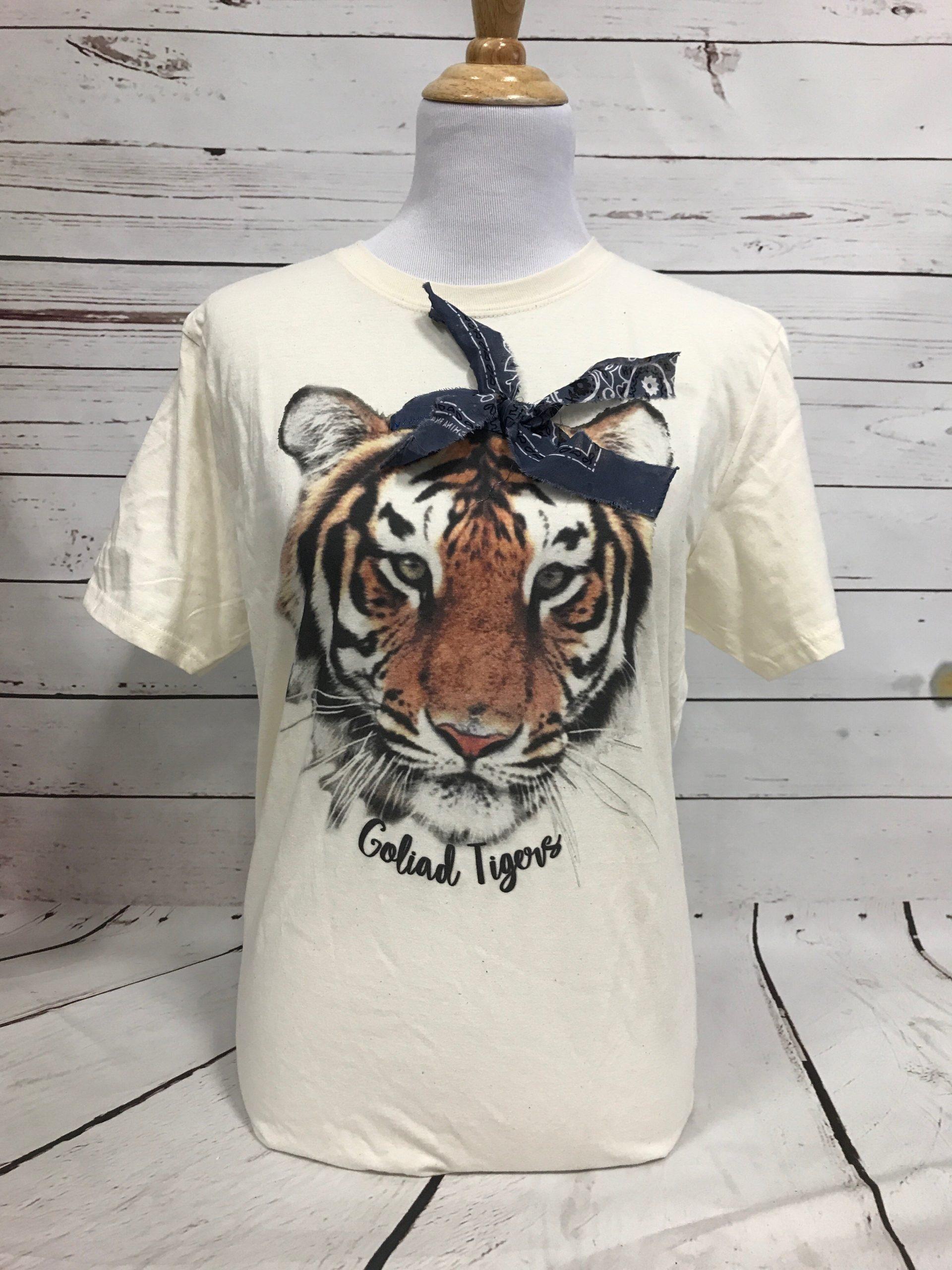 Tigers Mascot with Black Bandana on Cream Tultex Tee