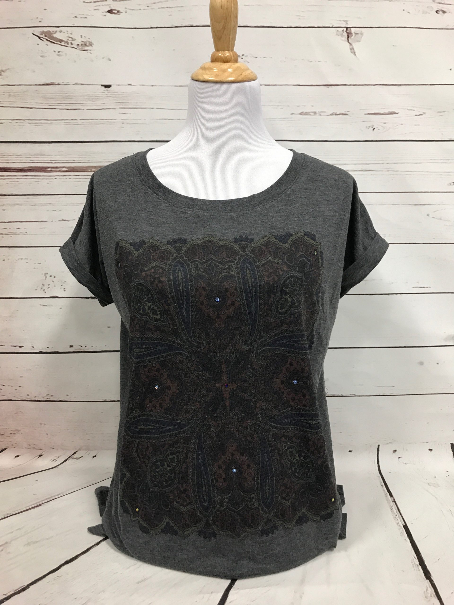 Sicily Gray Bella Flowy Muscle Tee with  Cuffs