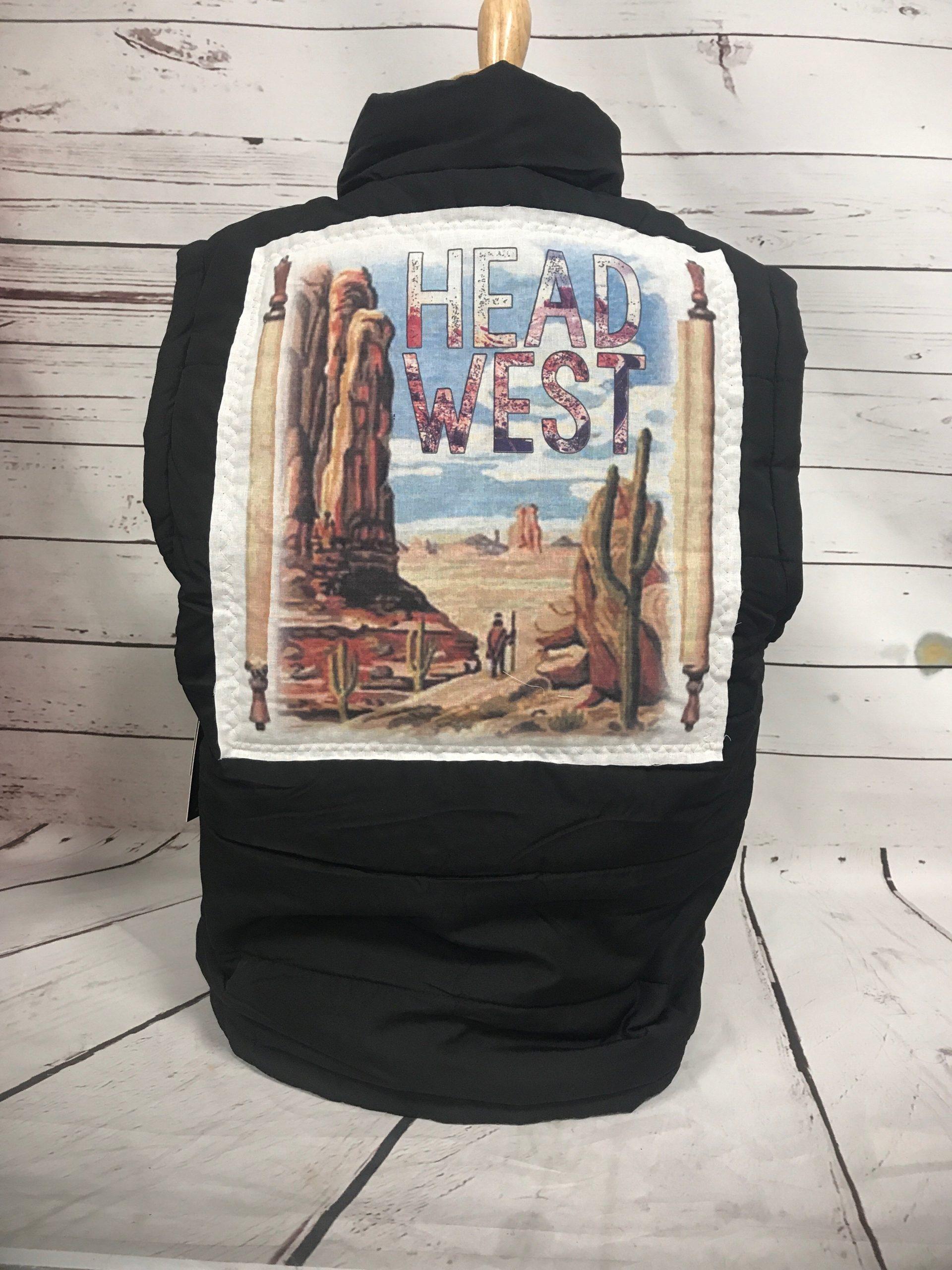 Head West Cream Patch on Black Puff Vest
