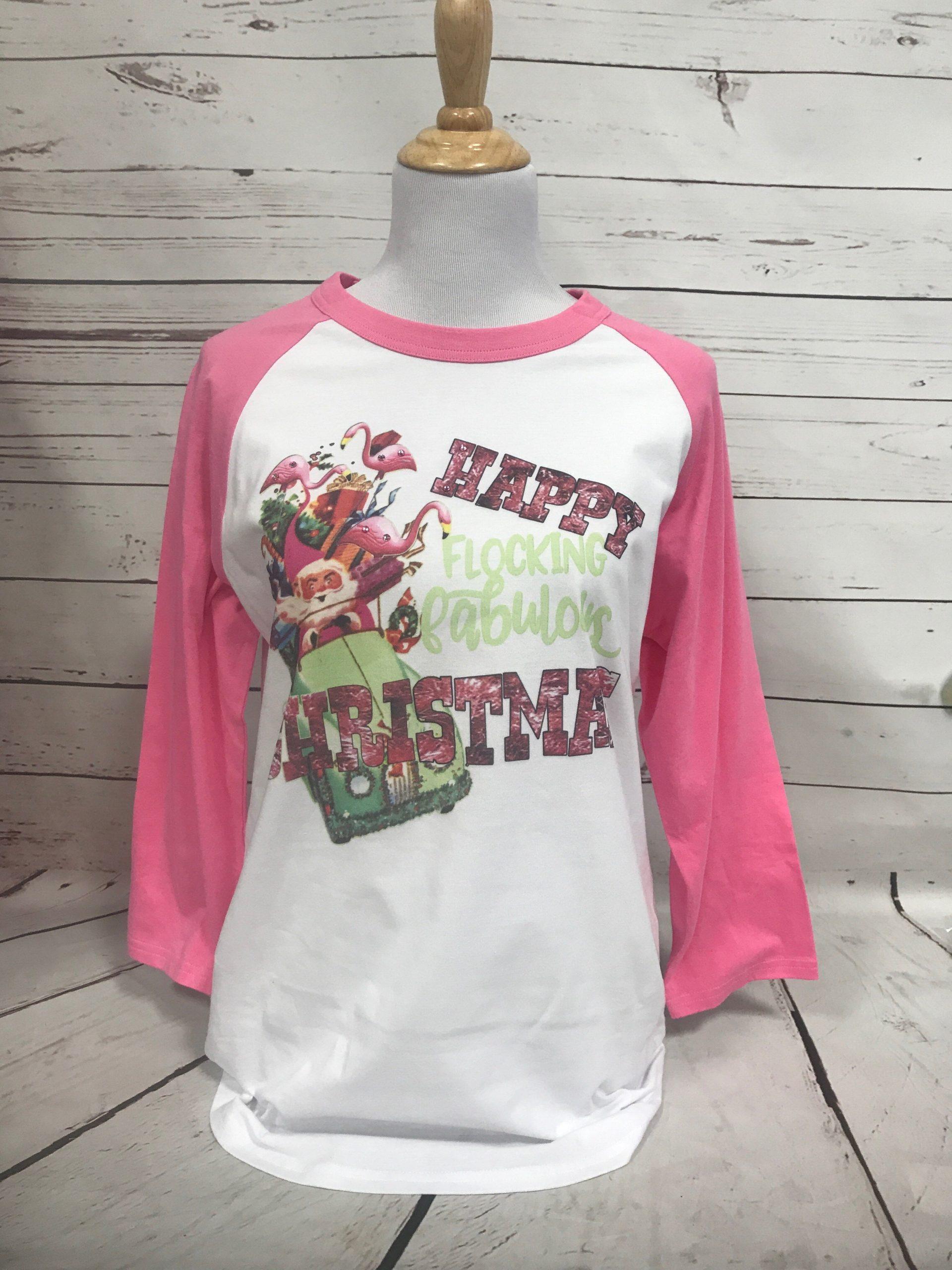 Flocking Christmas on Pink Baseball Tee