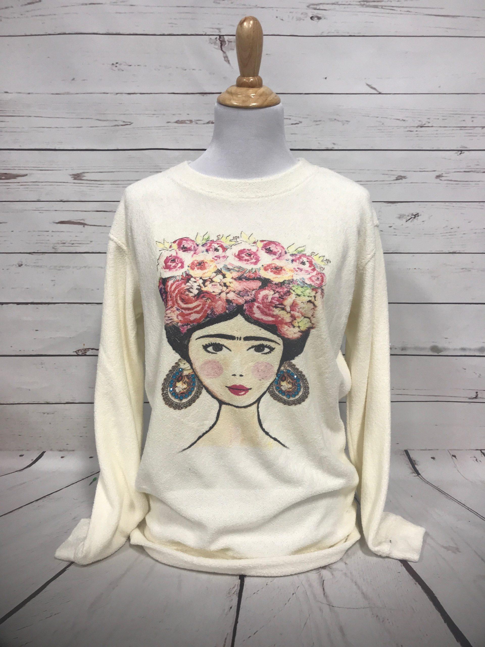 Frida on Cozy Crew Oatmeal Sweatshirt