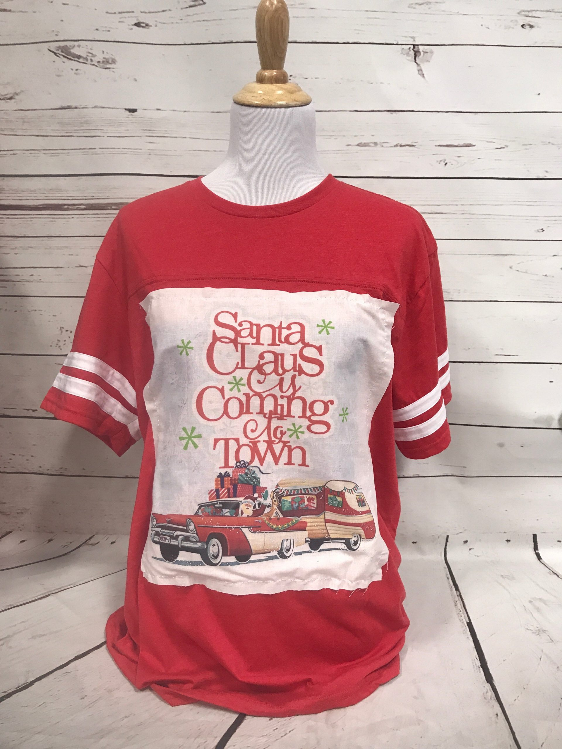Santa Coming to Town w/ White patch Red Tee