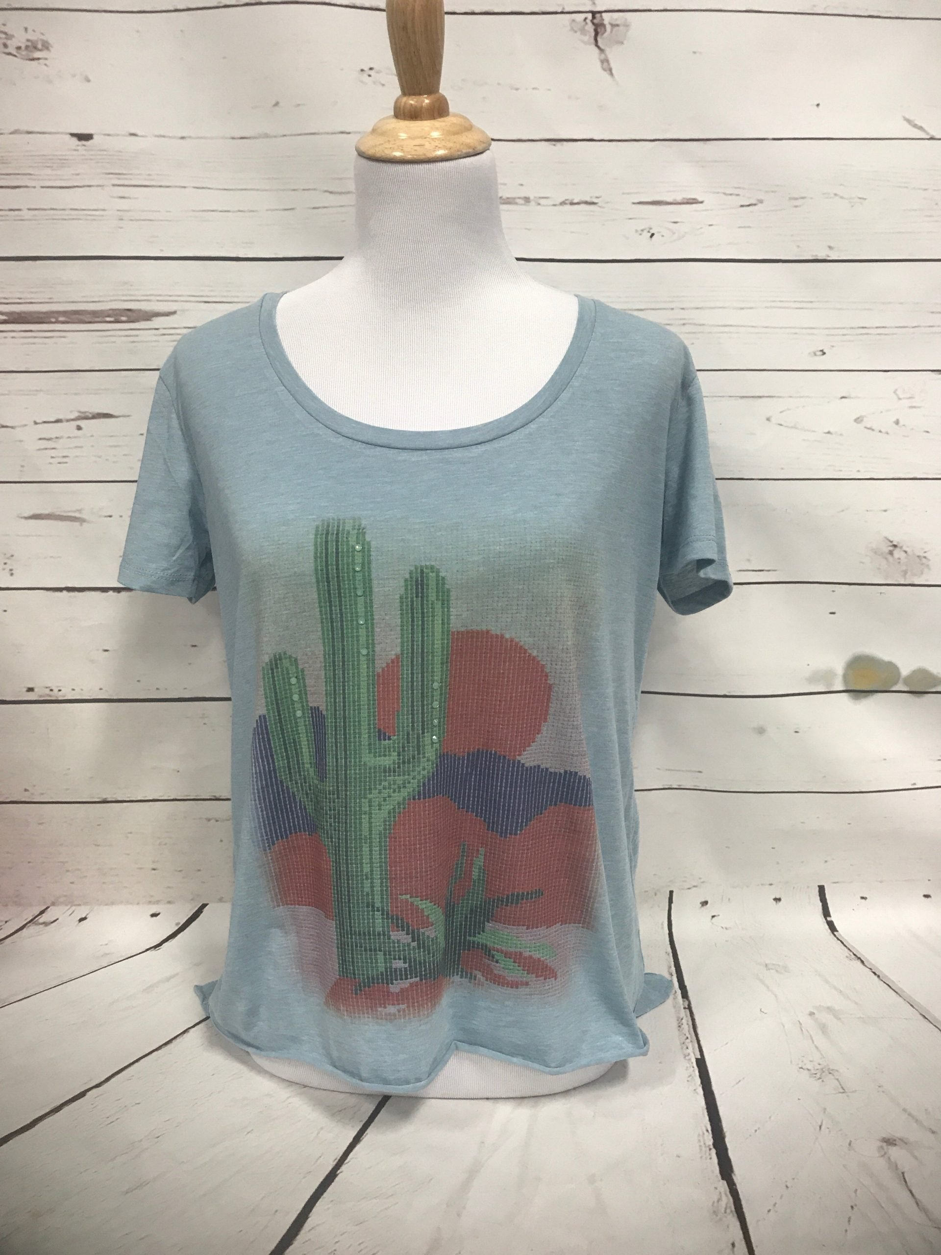 Latch Hook Cactus on Light Blue Tee