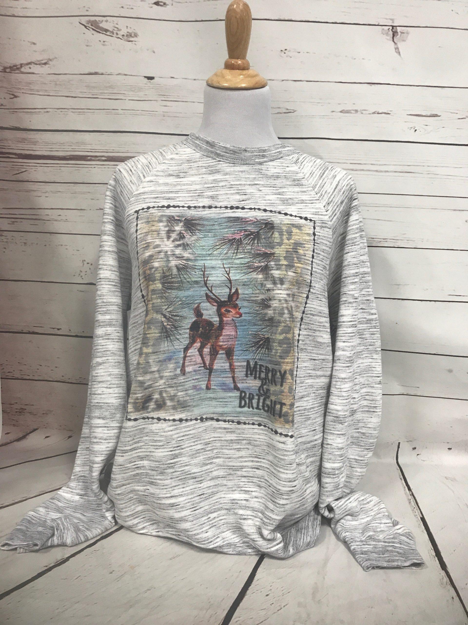 Merry and Bright Reindeer on Marble Gray Sweatshirt