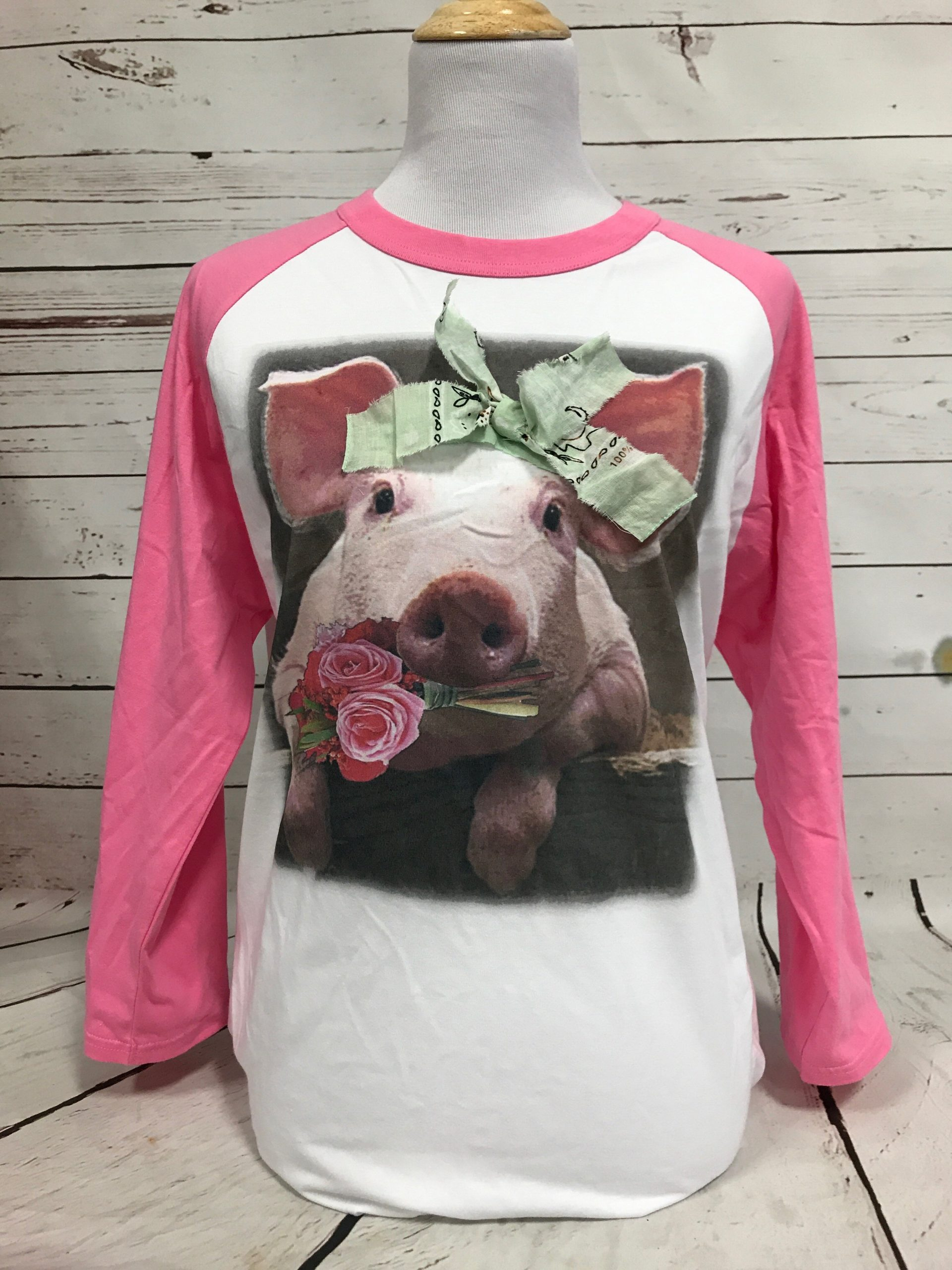 Pig with Mint Bandana on Pink and White Baseball Tee