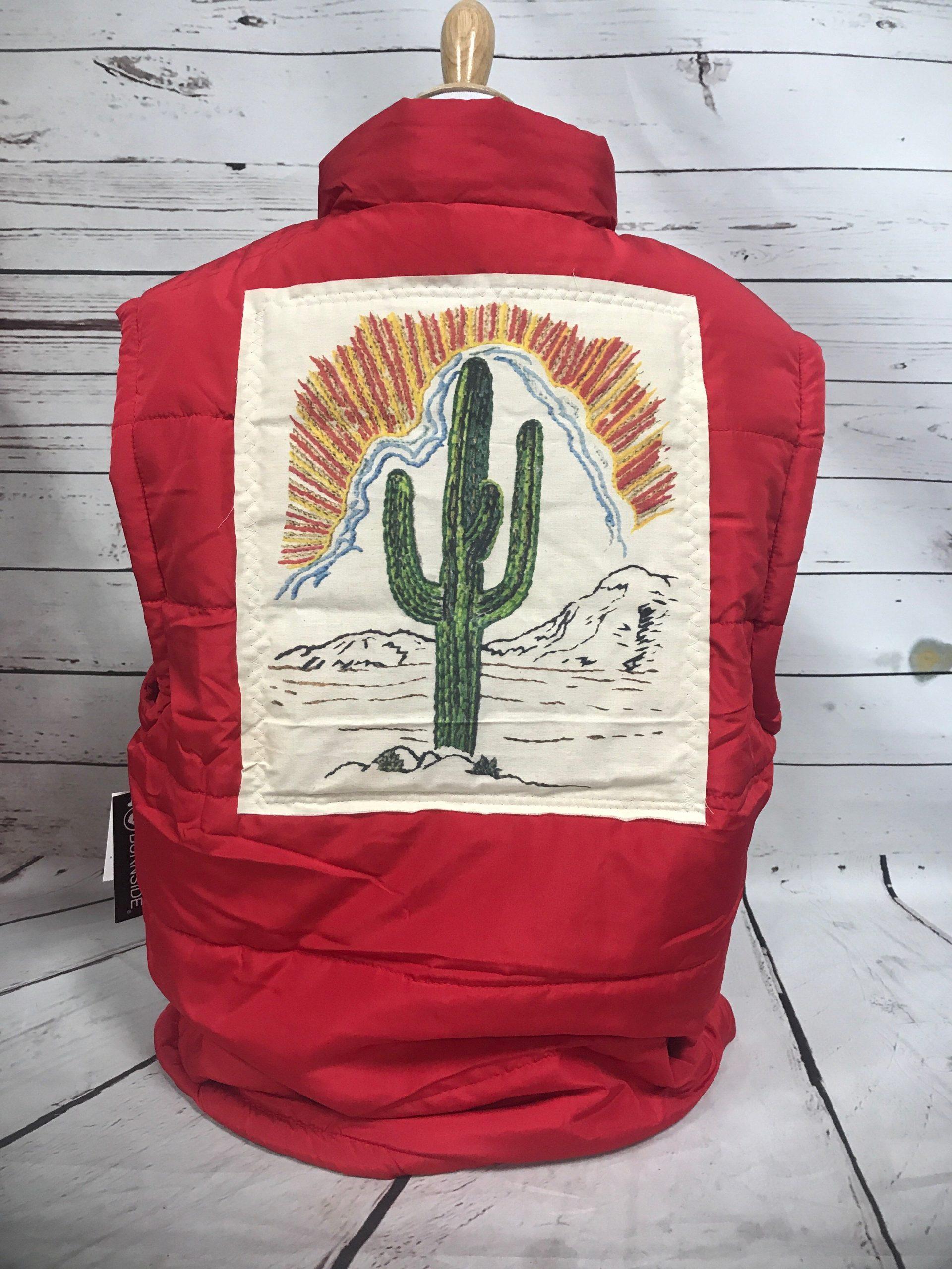 Sunset Cactus Cream Patch on Red Puff Vest