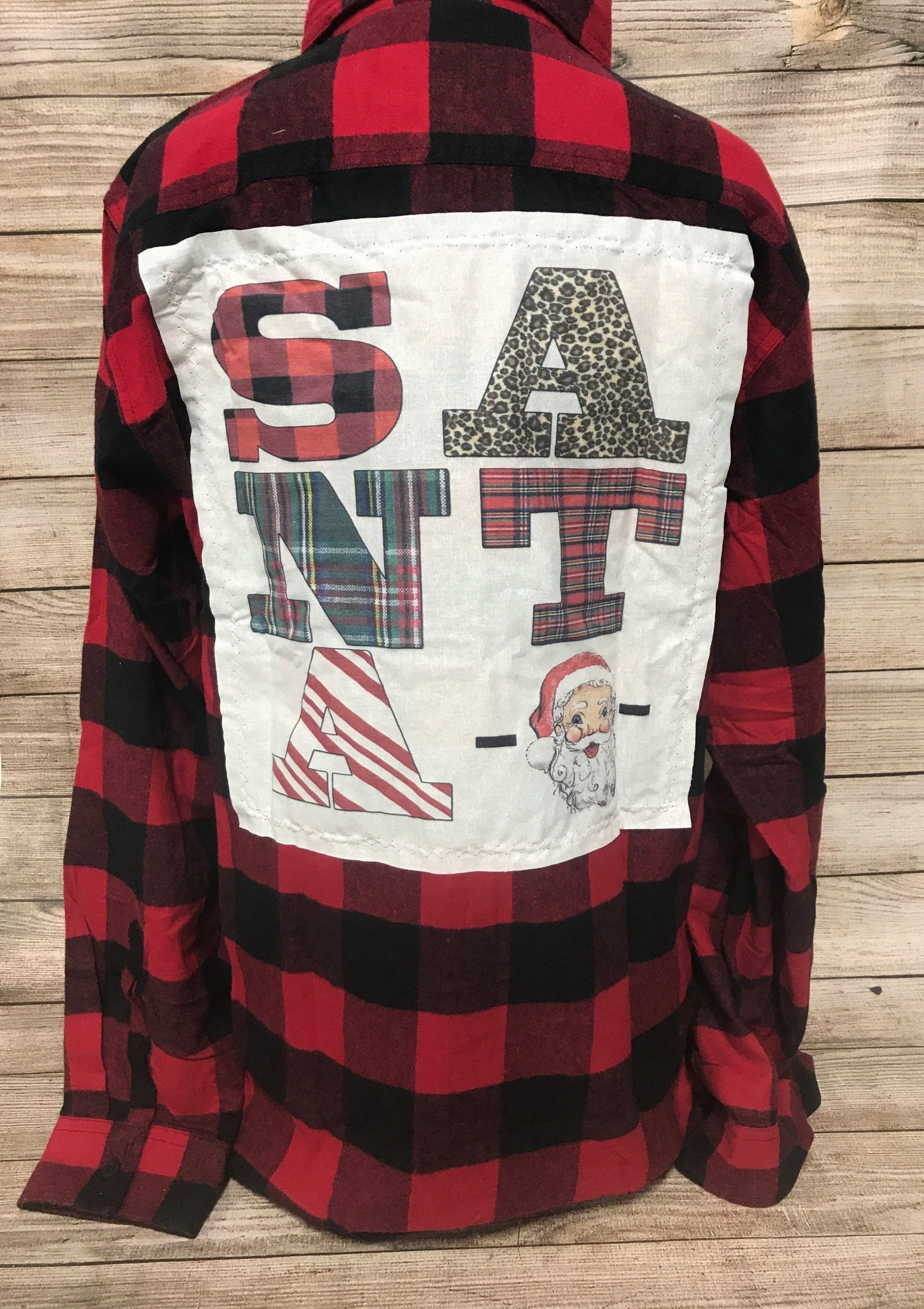 Santa Patch Red and Black Plaid Button up Shirt