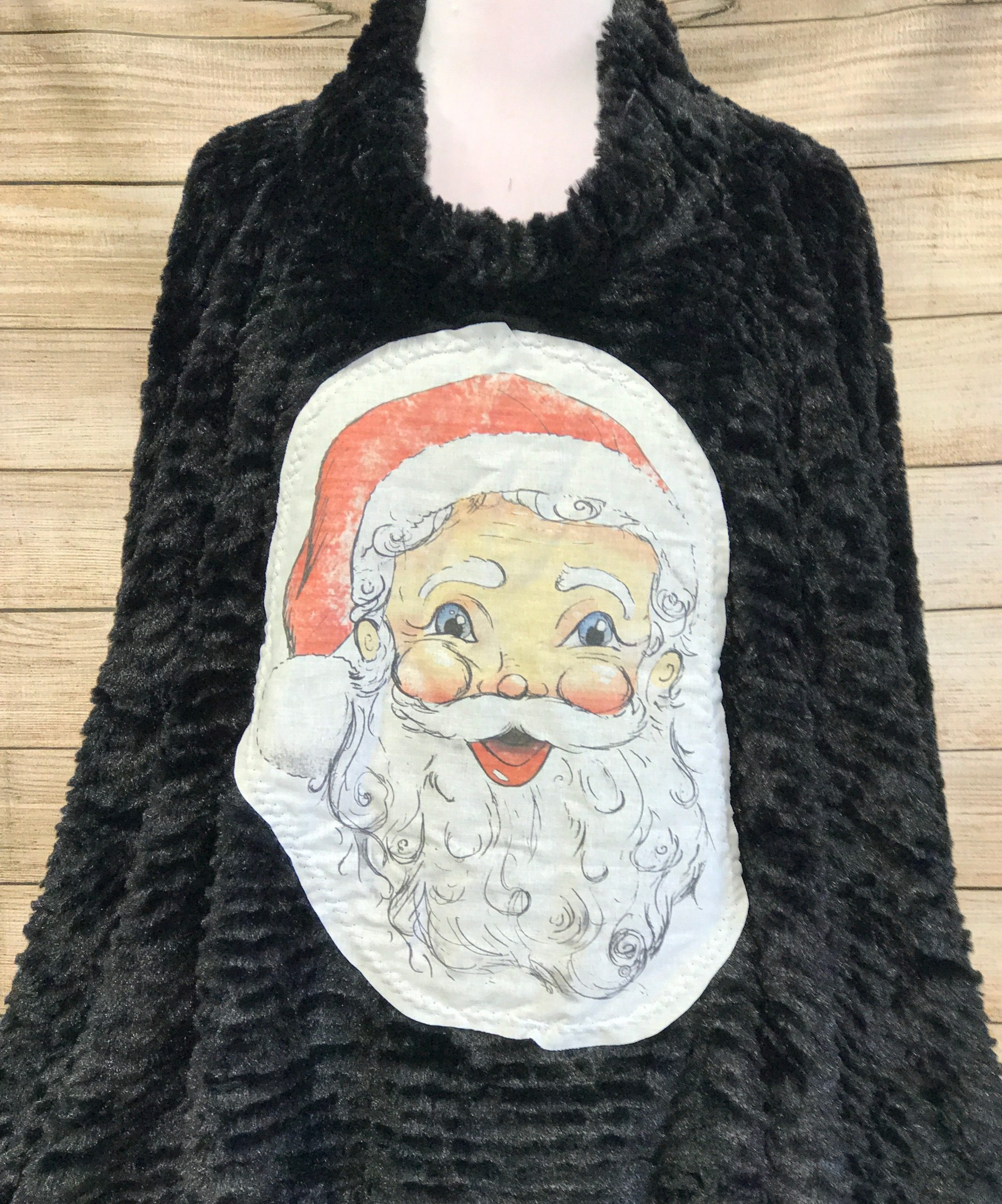 Santa Tody Patch on Dark Gray Fur Poncho