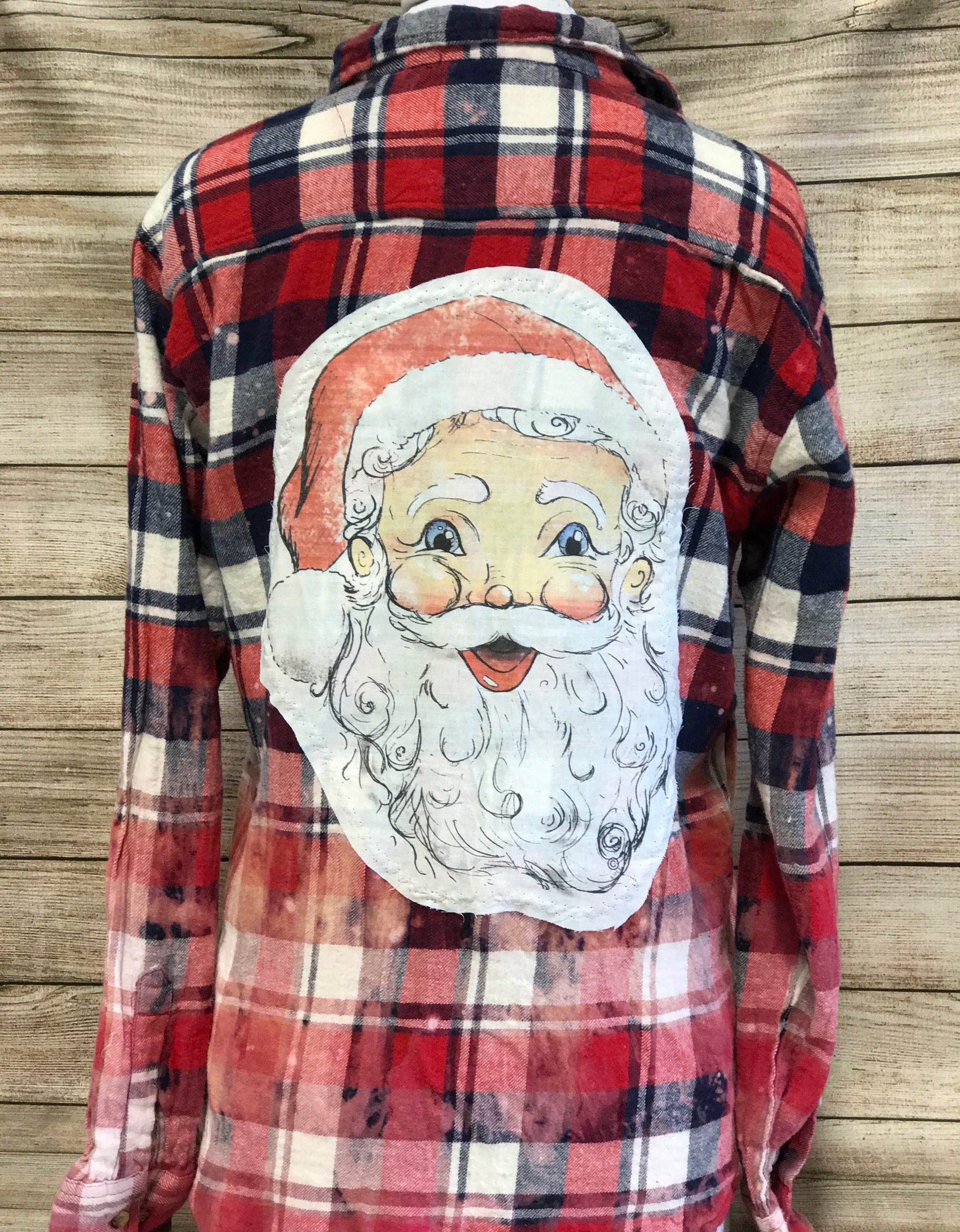 Santa Tody Patch on Red/Navy/White Bleached Flannel