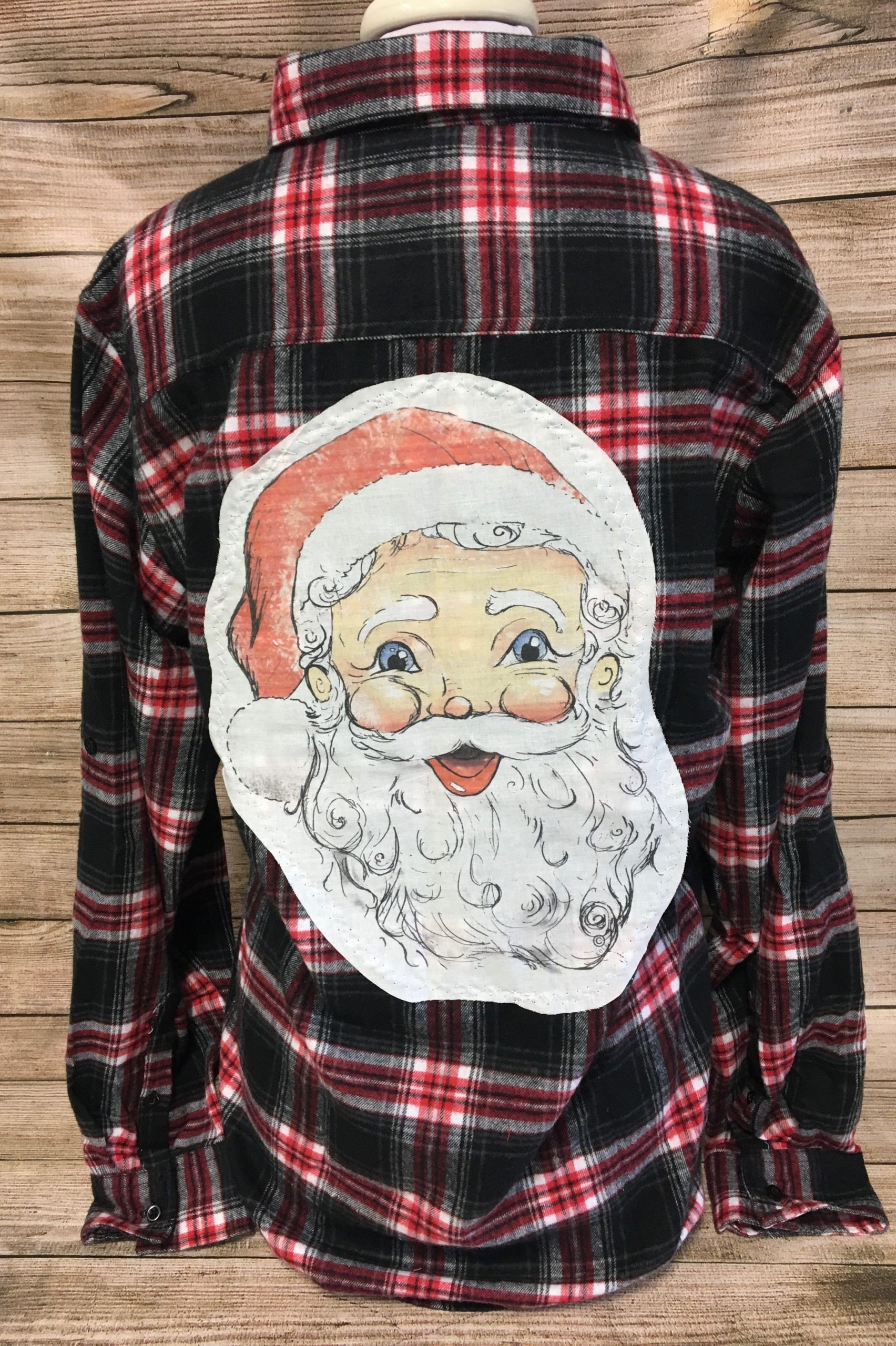 Santa Tody Patch on Red and Black Plaid Flannel