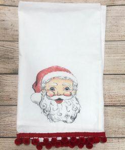 Santa Tody with Red Poms Tea Towel