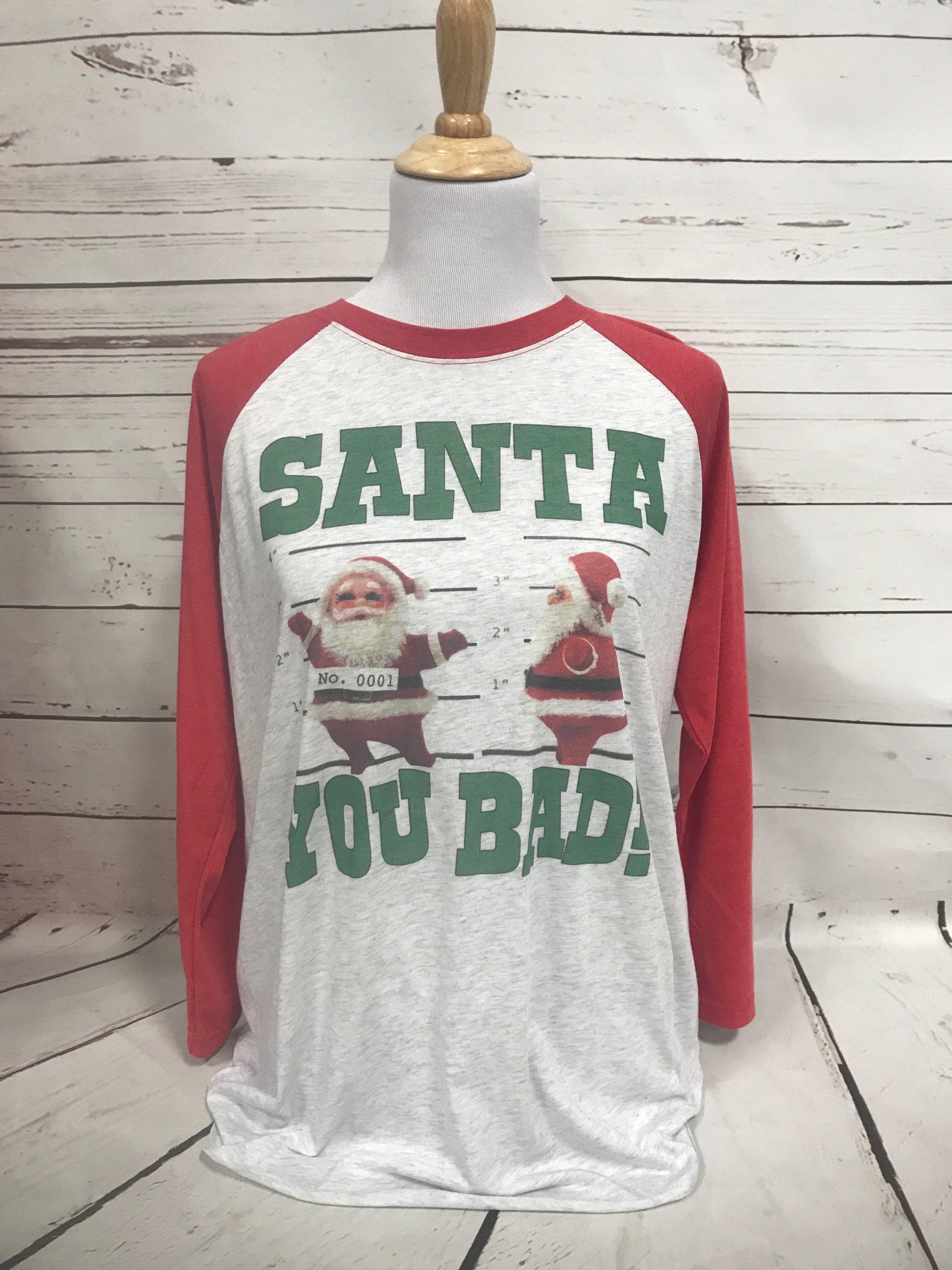Santa You Bad on Vintage Red and Heather Baseball tee
