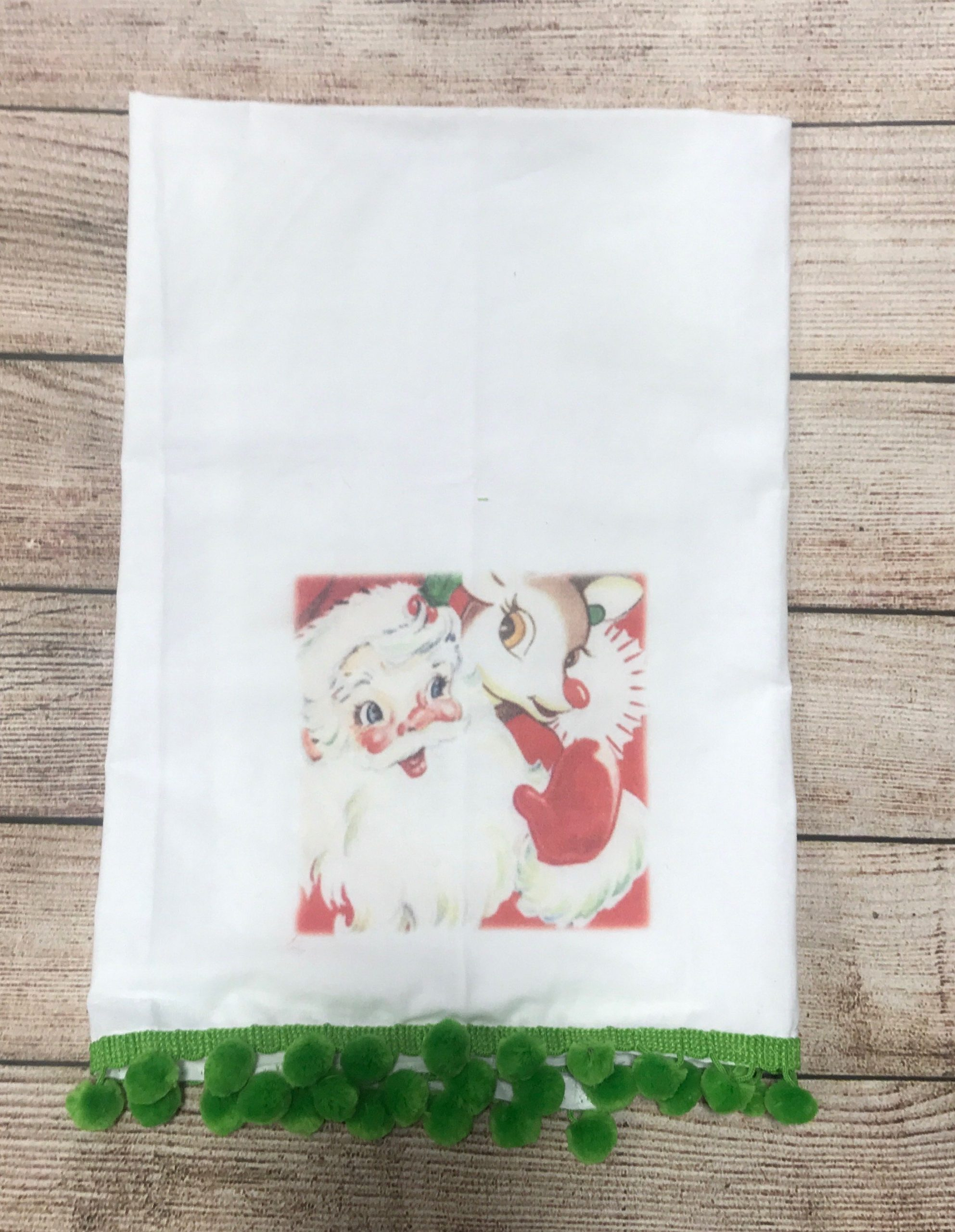 Santa and Rudolph with Green Poms Tea Towel