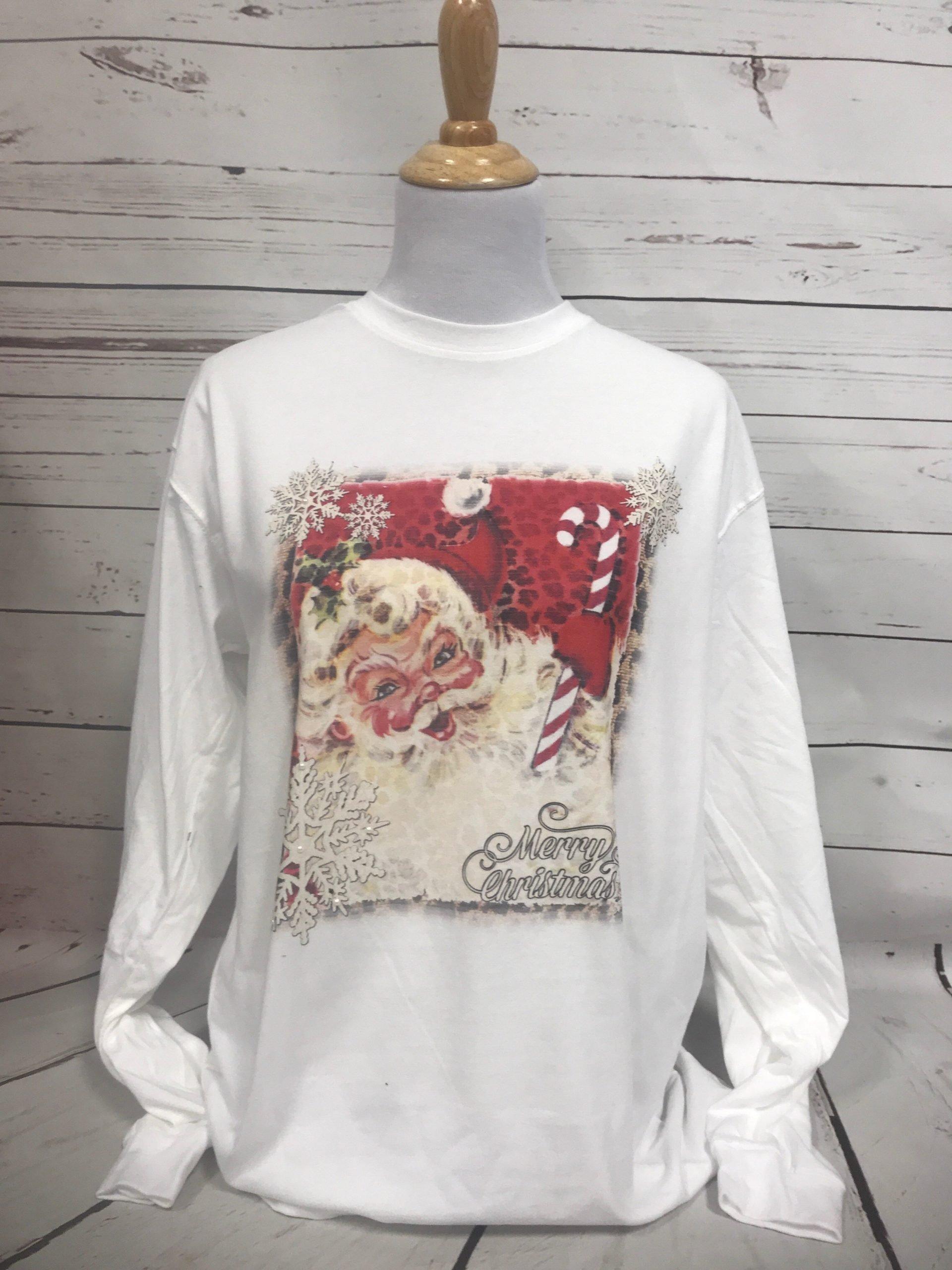 Candy Cane Santa on White Long Sleeve Tee