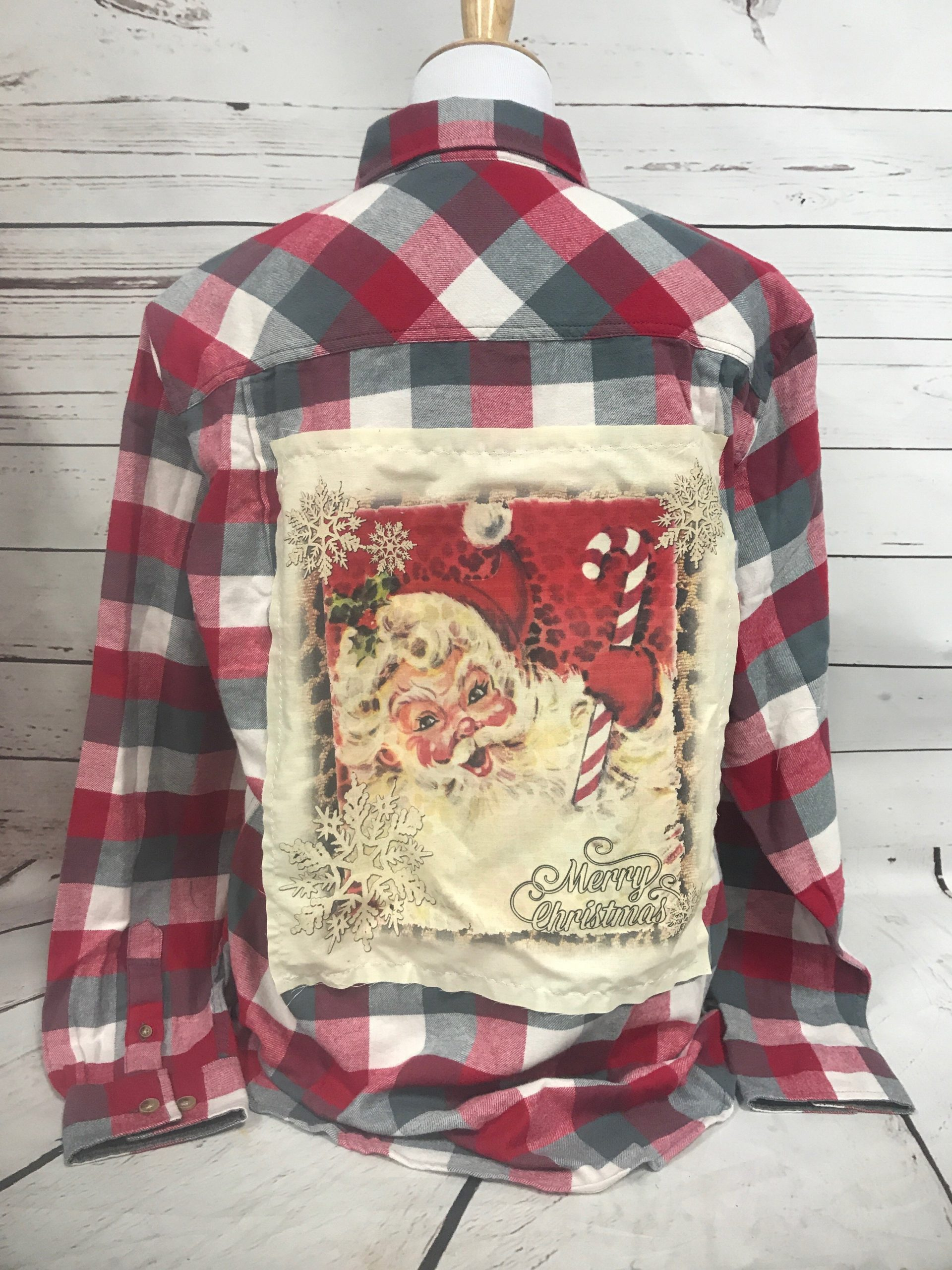 Candy Cane Santa Cream Patch on Red Gray White Flannel